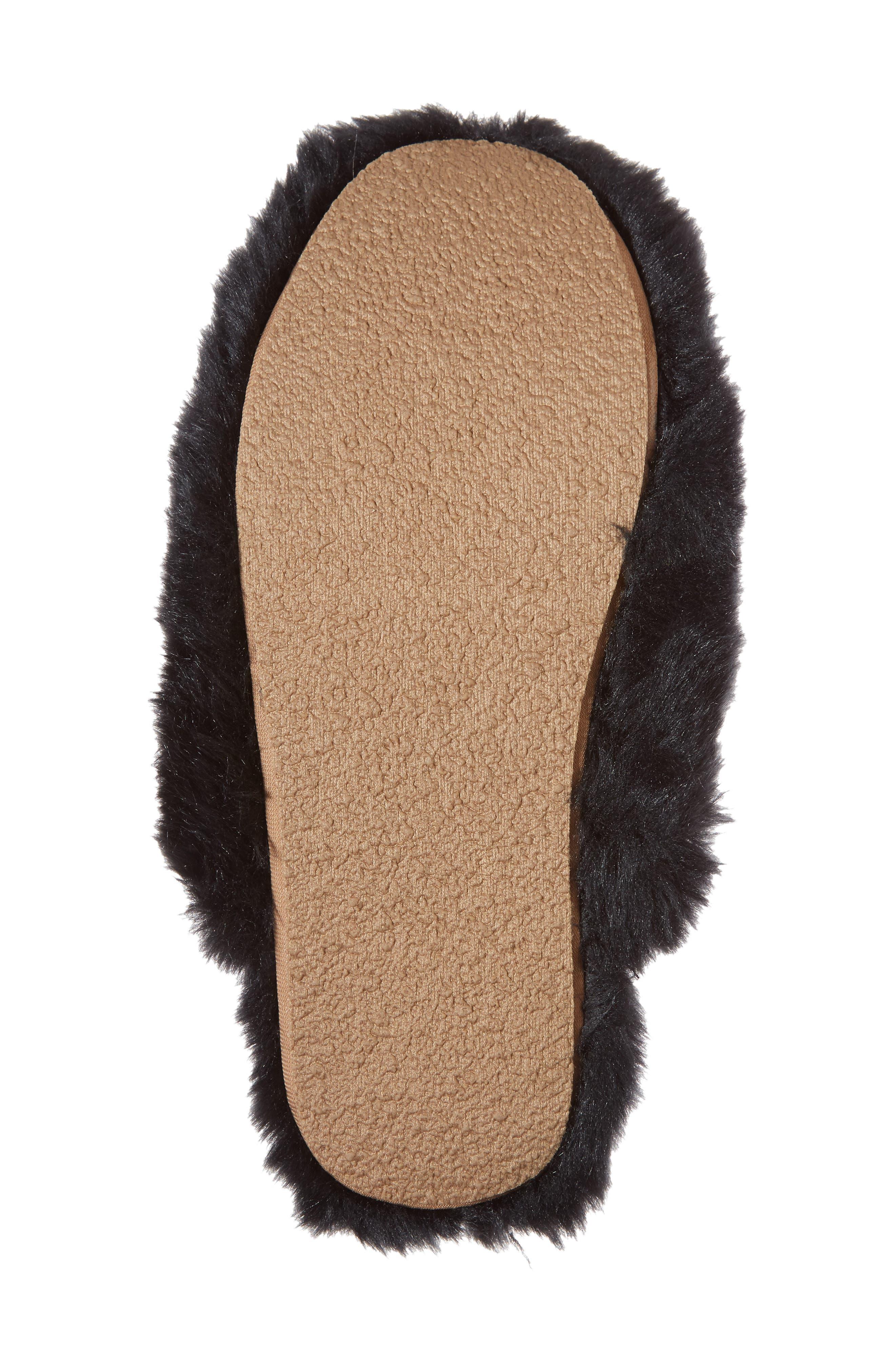 Faux Fur Slipper,                             Alternate thumbnail 6, color,                             BLACK