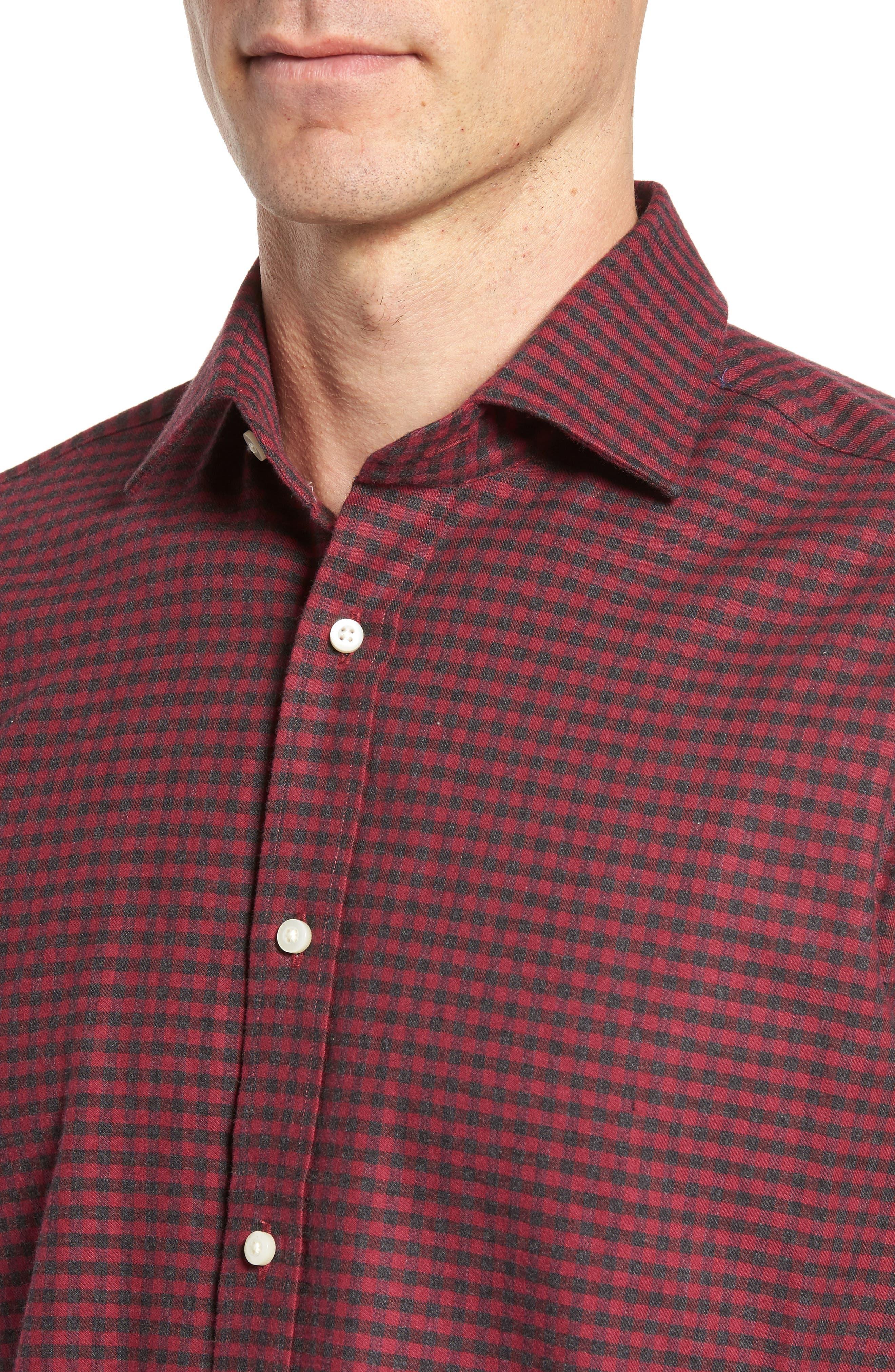 Regular Fit Check Sport Shirt,                             Alternate thumbnail 4, color,                             DARK PINK