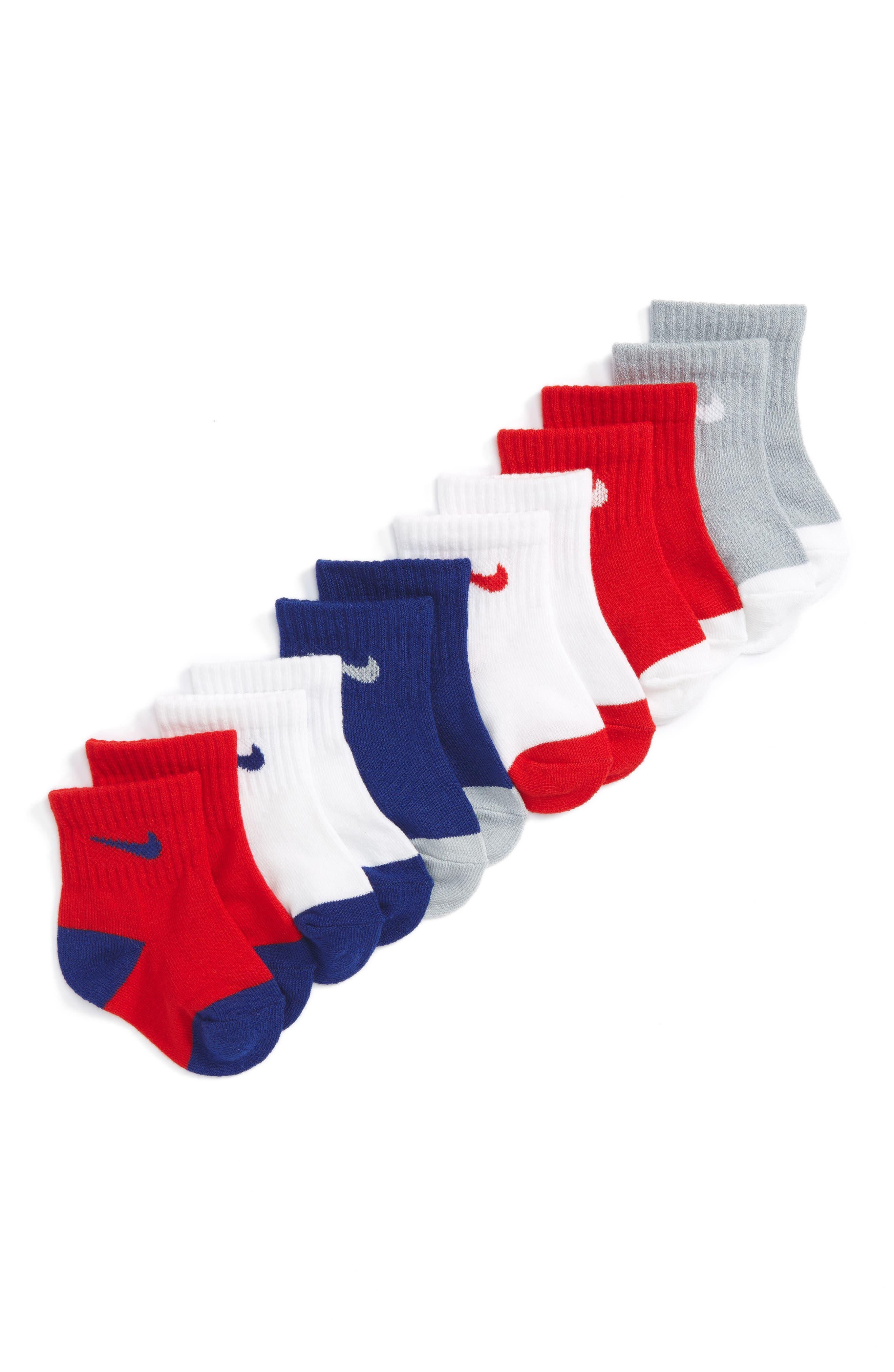 6-Pack Swoosh Logo Crib Socks,                             Main thumbnail 1, color,                             468