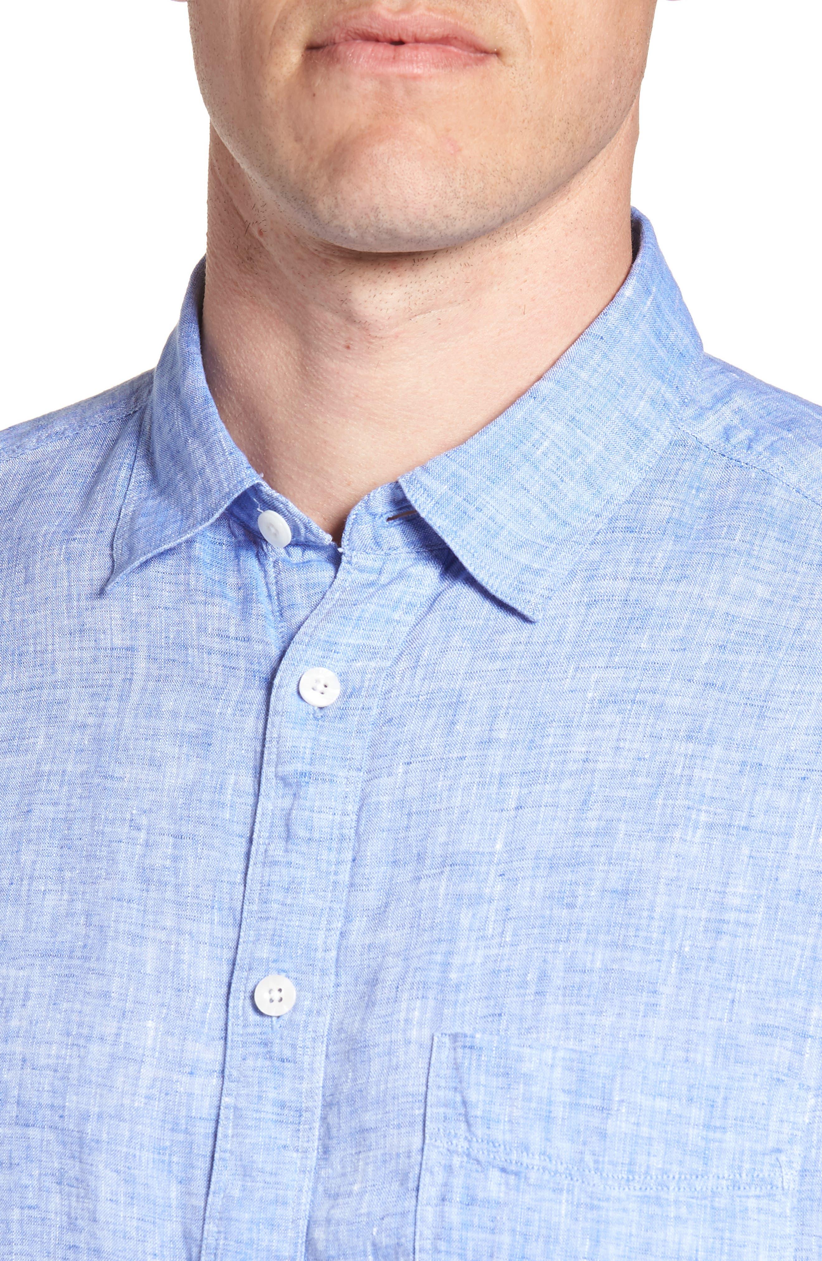 Regular Fit Solid Linen Sport Shirt,                             Alternate thumbnail 8, color,
