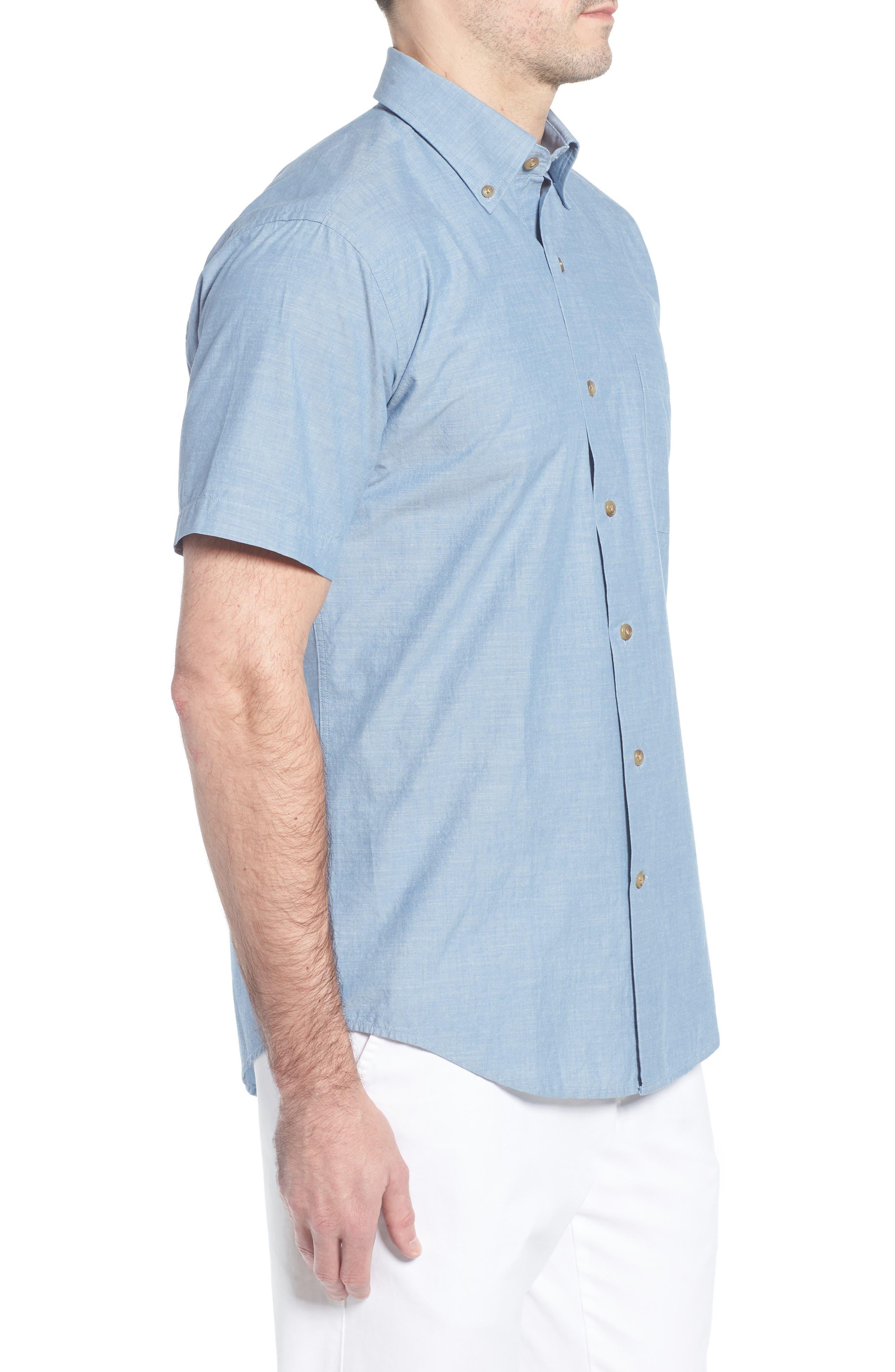 Heritage Chambray Sport Shirt,                             Alternate thumbnail 3, color,                             TAR HEEL BLUE