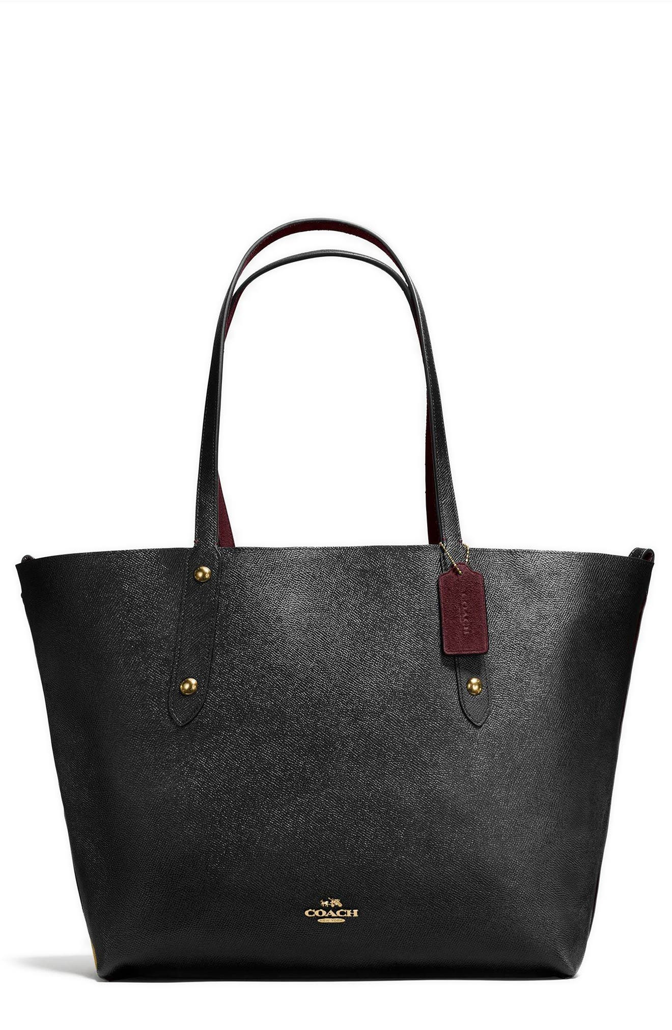 Large Market Reversible Leather Tote,                             Main thumbnail 1, color,                             001