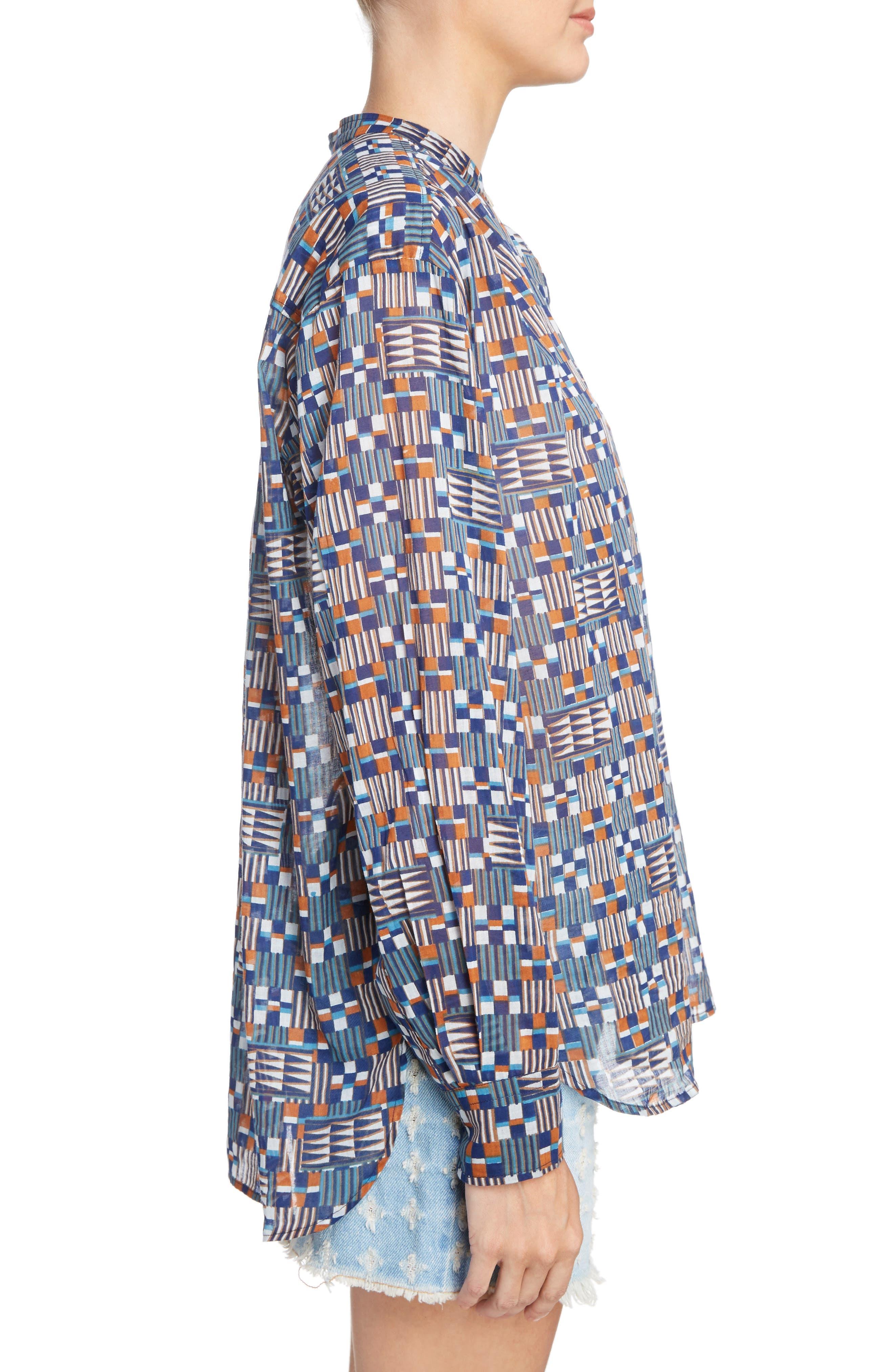 Isabel Marant Étoile Nahla Print Cotton Shirt,                             Alternate thumbnail 3, color,                             400