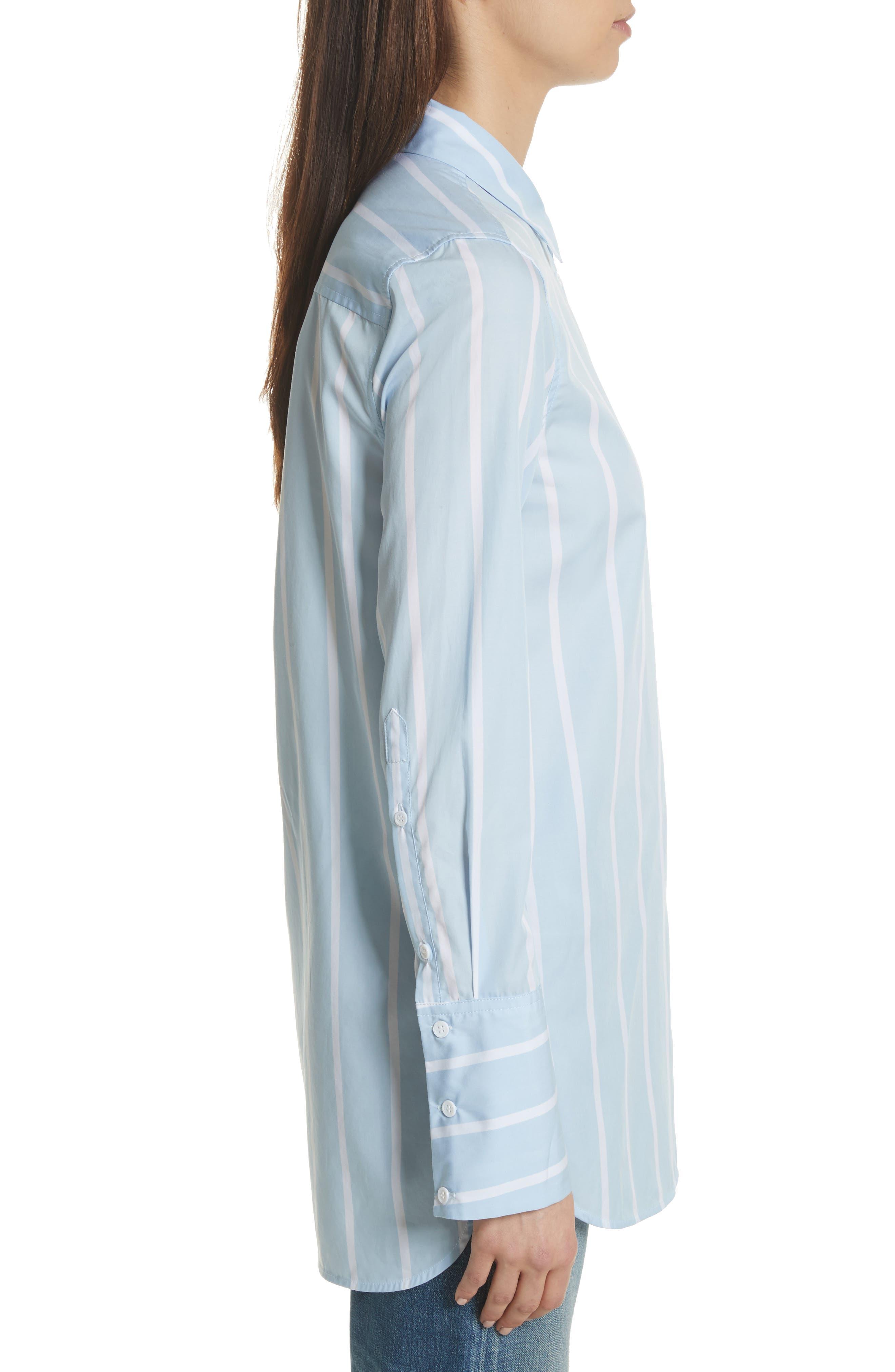 Arlette Stripe Cotton Shirt,                             Alternate thumbnail 3, color,                             498