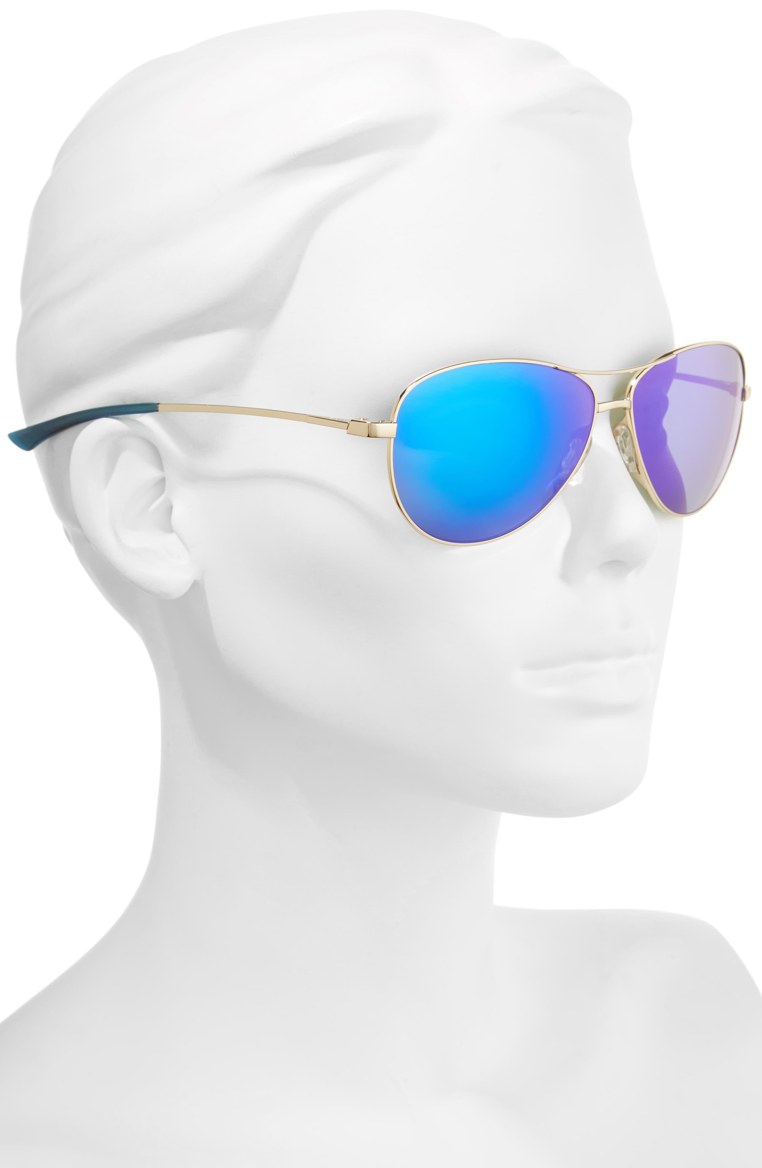 'Langley' 60mm Aviator Sunglasses,                             Alternate thumbnail 2, color,                             GOLD/ BLUE