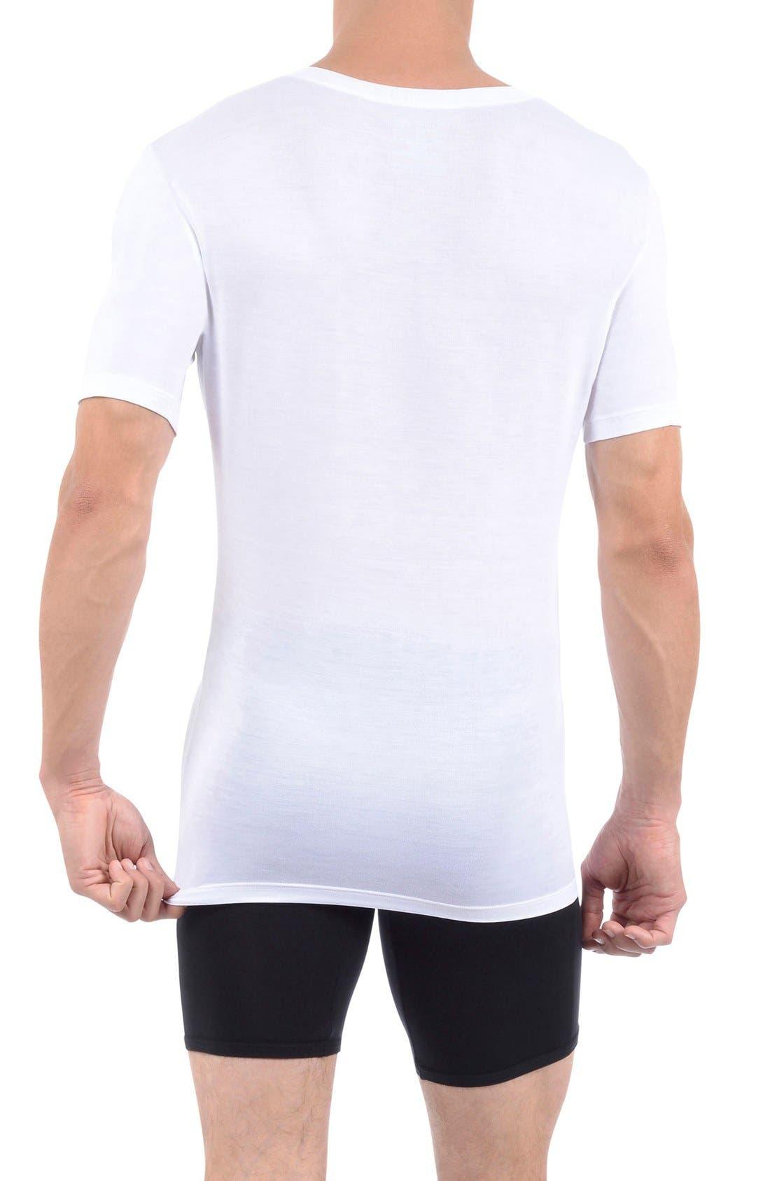 Second Skin Micromodal Deep V-Neck Undershirt,                             Alternate thumbnail 2, color,                             WHITE