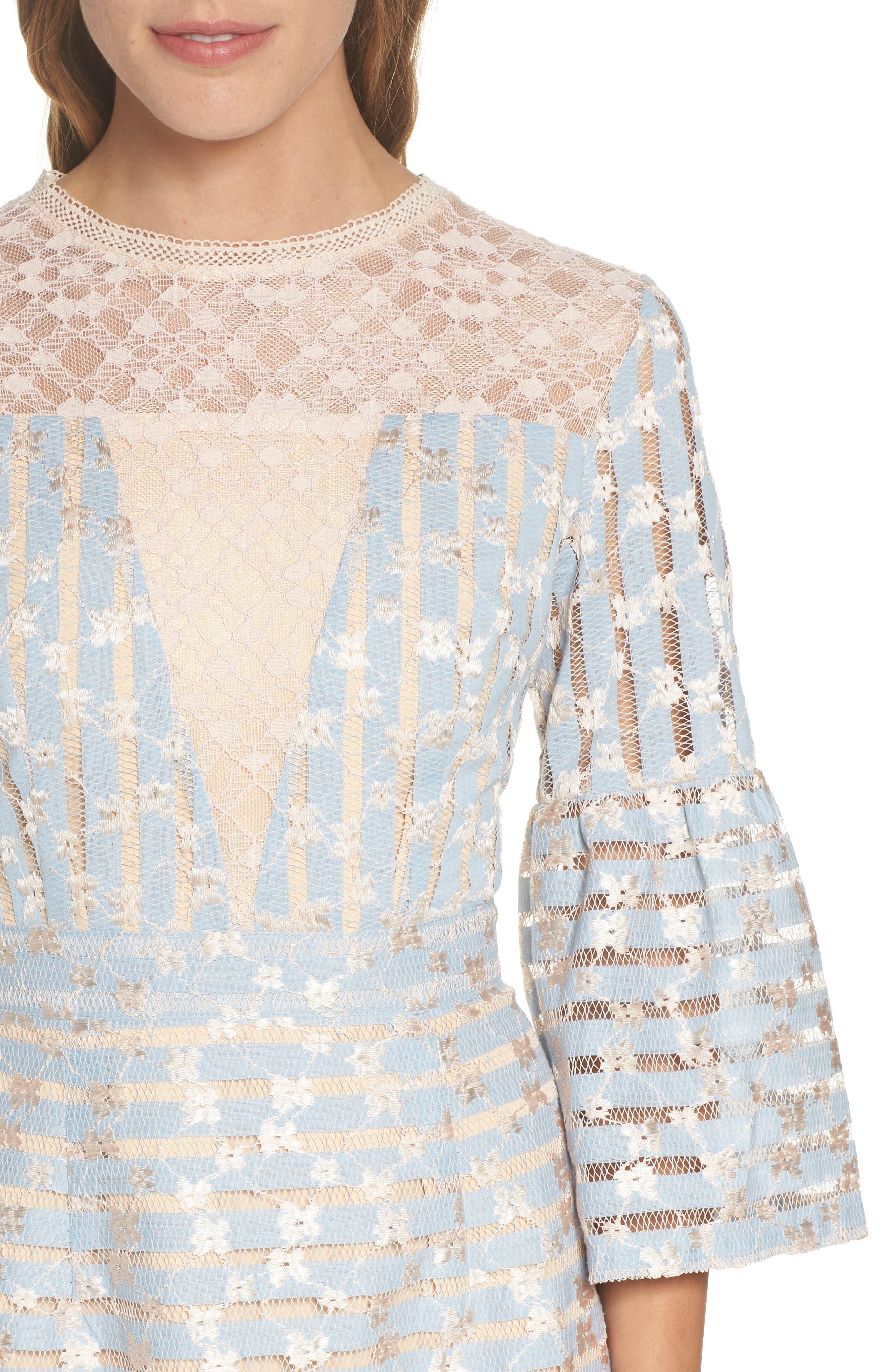 Cordelia Bell Sleeve Minidress,                             Alternate thumbnail 4, color,                             400