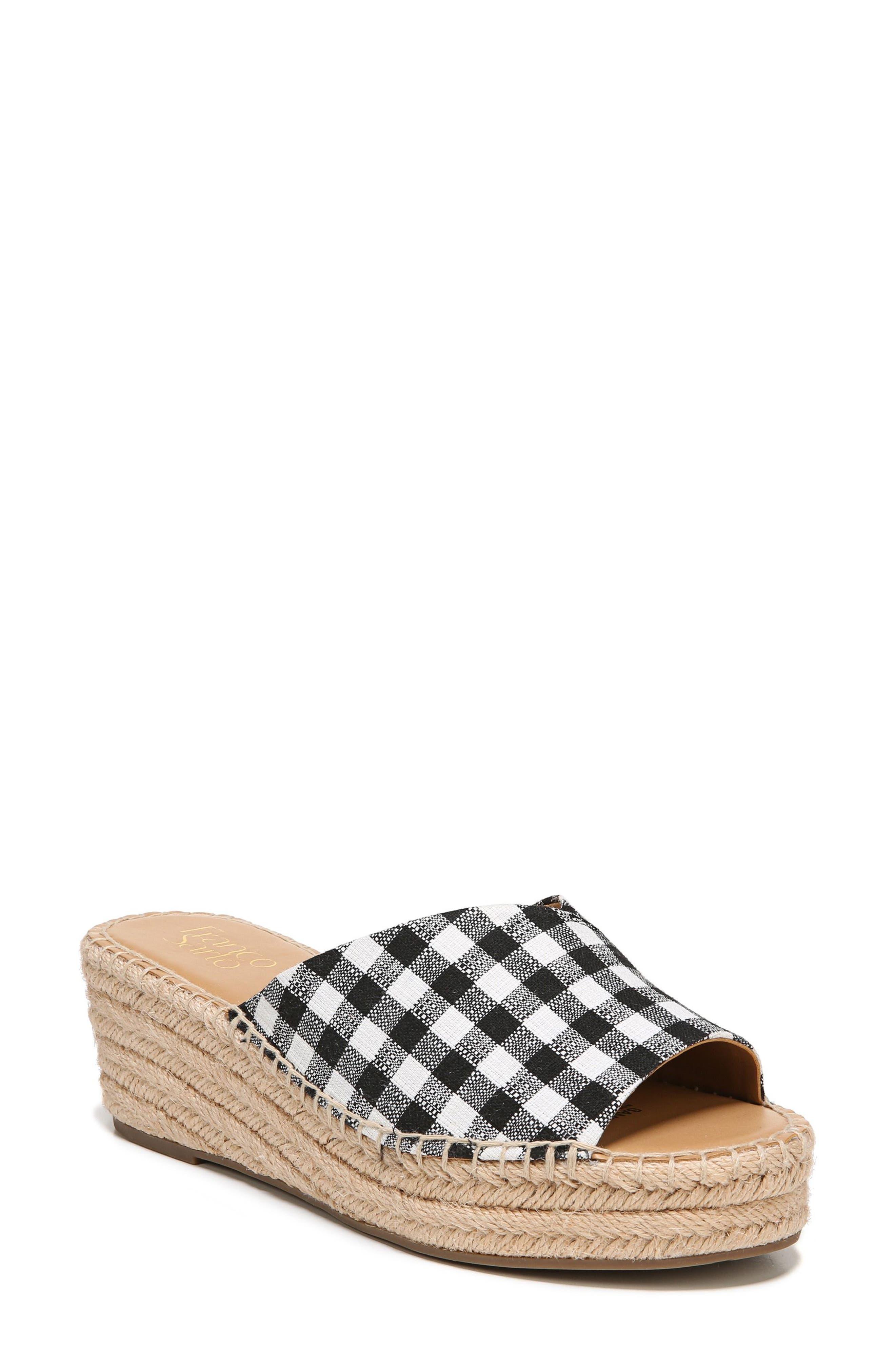 SARTO by Franco Sarto Pinot Platform Wedge Slide Sandal,                             Alternate thumbnail 7, color,                             BLACK/ WHITE