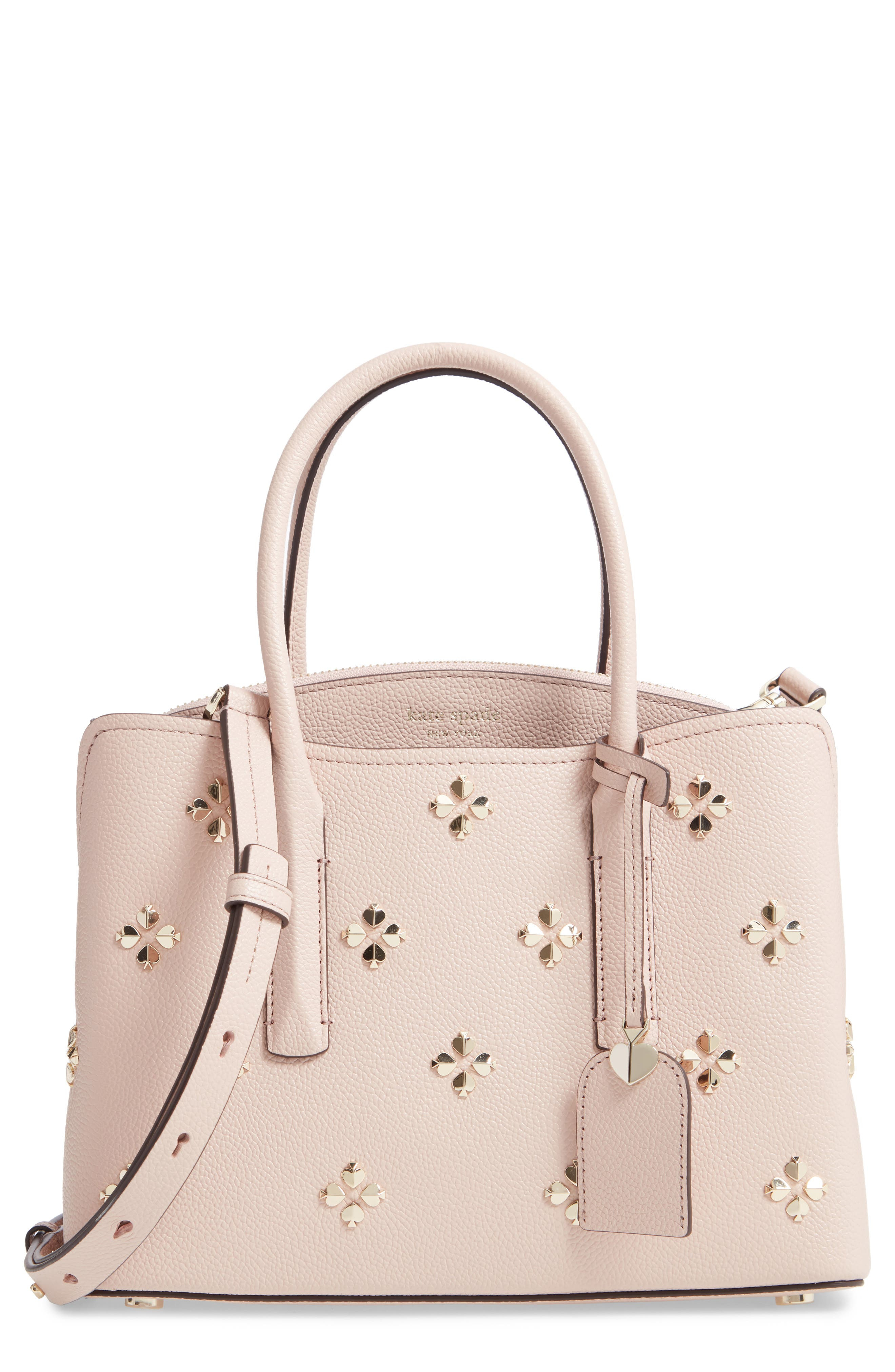 KATE SPADE NEW YORK medium margaux embellished leather satchel, Main, color, PALE VELLUM