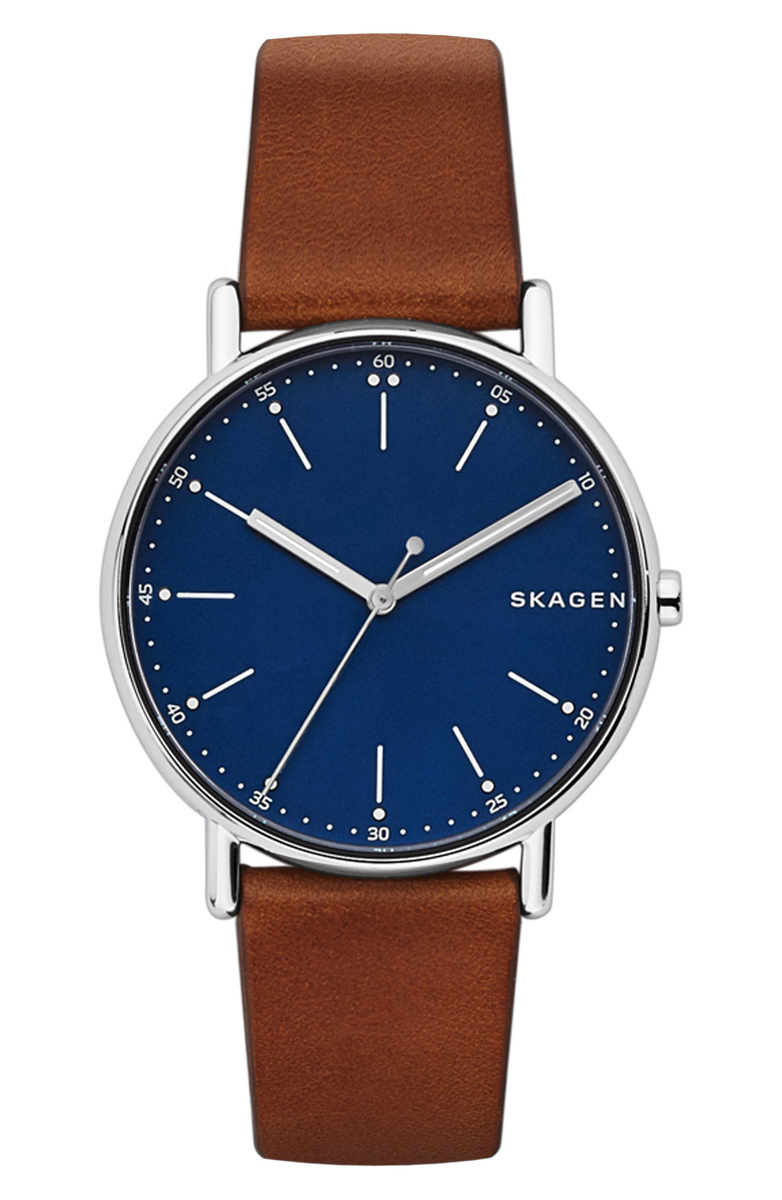 SKAGEN,                             Round Leather Strap Watch, 40mm,                             Main thumbnail 1, color,                             BROWN/ BLUE/ SILVER