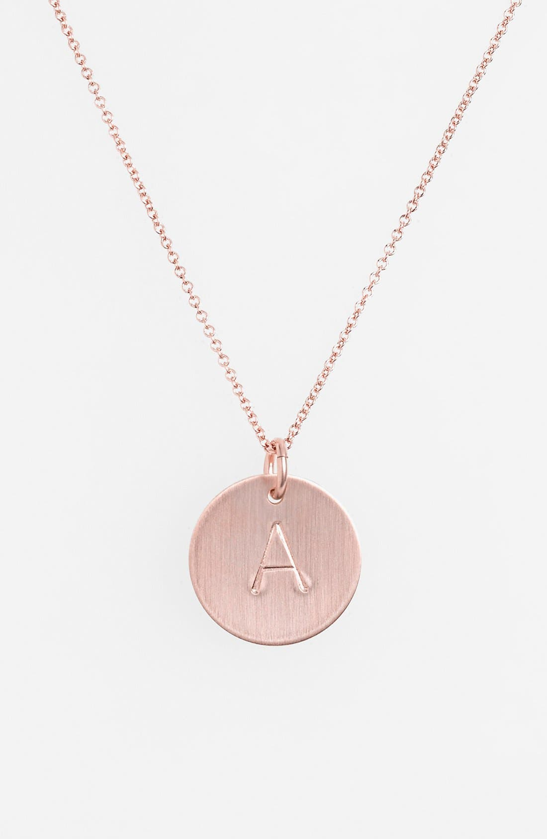 14k-Rose Gold Fill Initial Disc Necklace,                             Main thumbnail 1, color,                             710