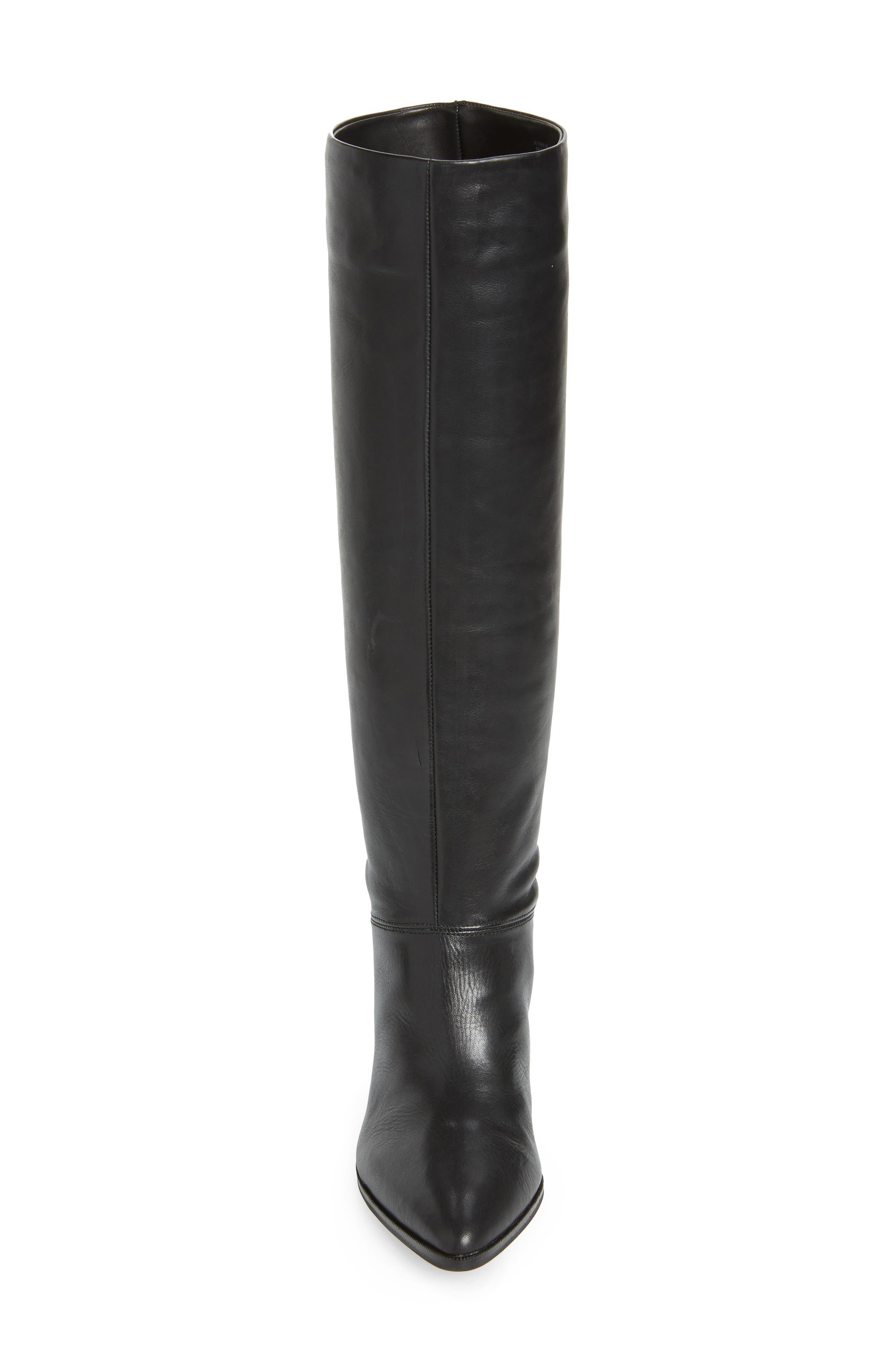 Danilynn Knee High Boot,                             Alternate thumbnail 4, color,                             BLACK LEATHER