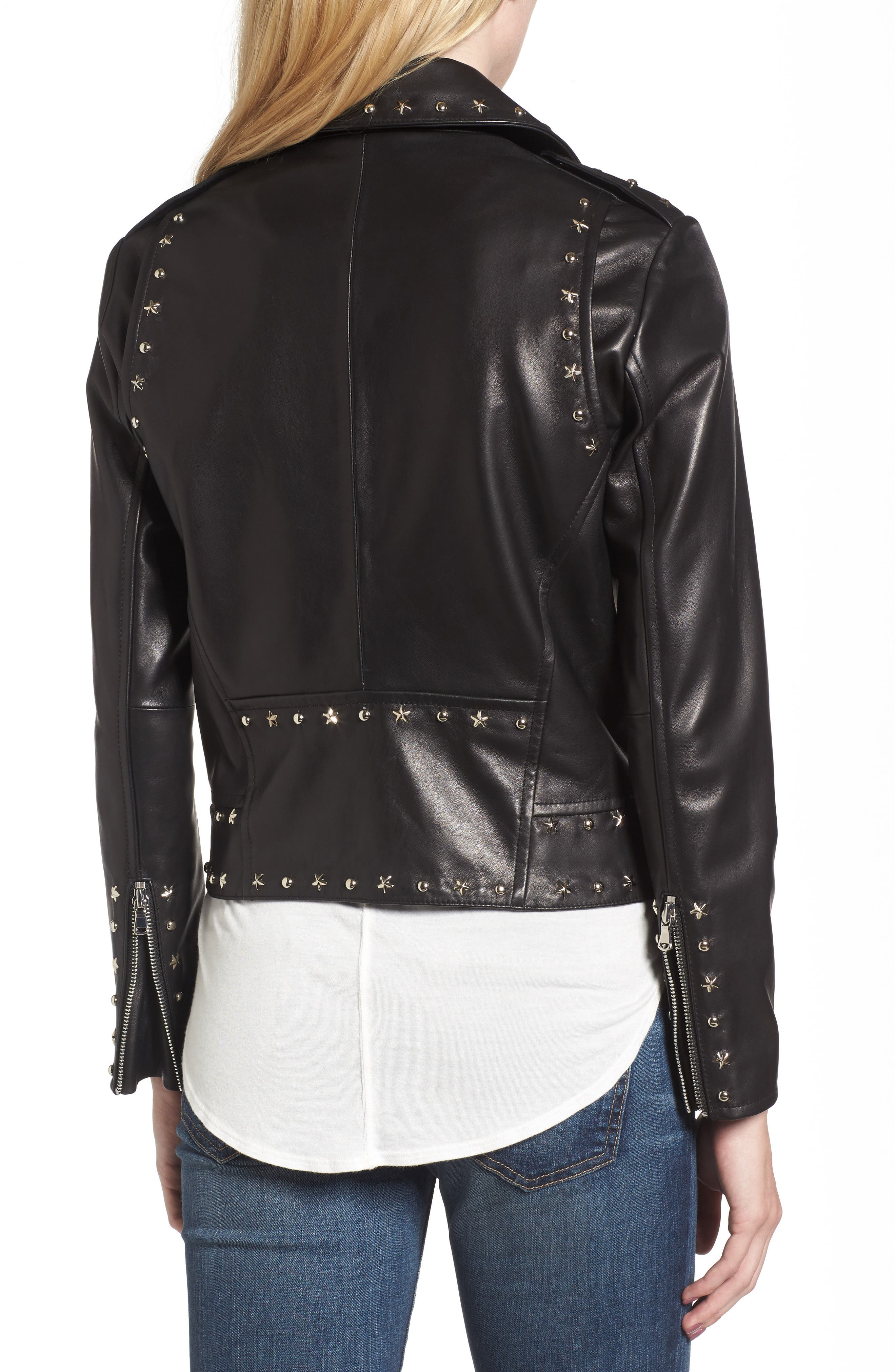 Easton Studded Leather Moto Jacket,                             Alternate thumbnail 2, color,                             BLACK