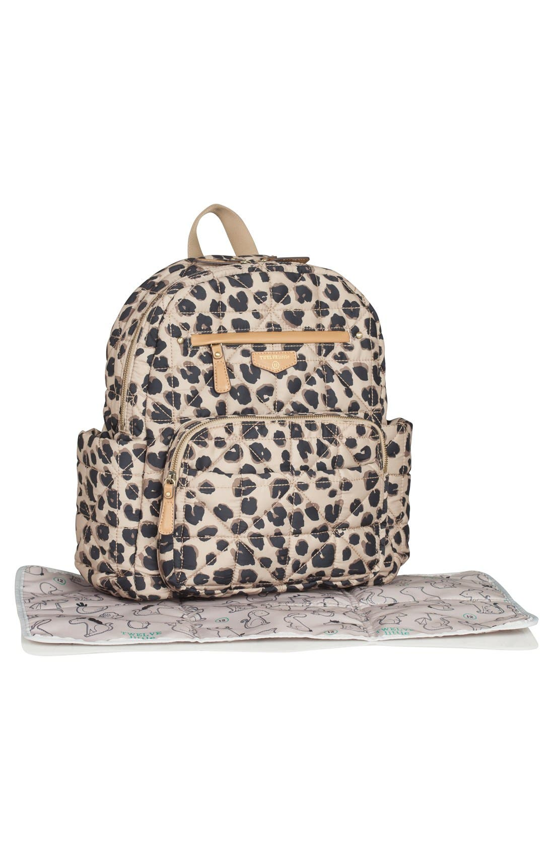 Quilted Water Resistant Nylon Diaper Backpack,                             Alternate thumbnail 6, color,                             LEOPARD PRINT