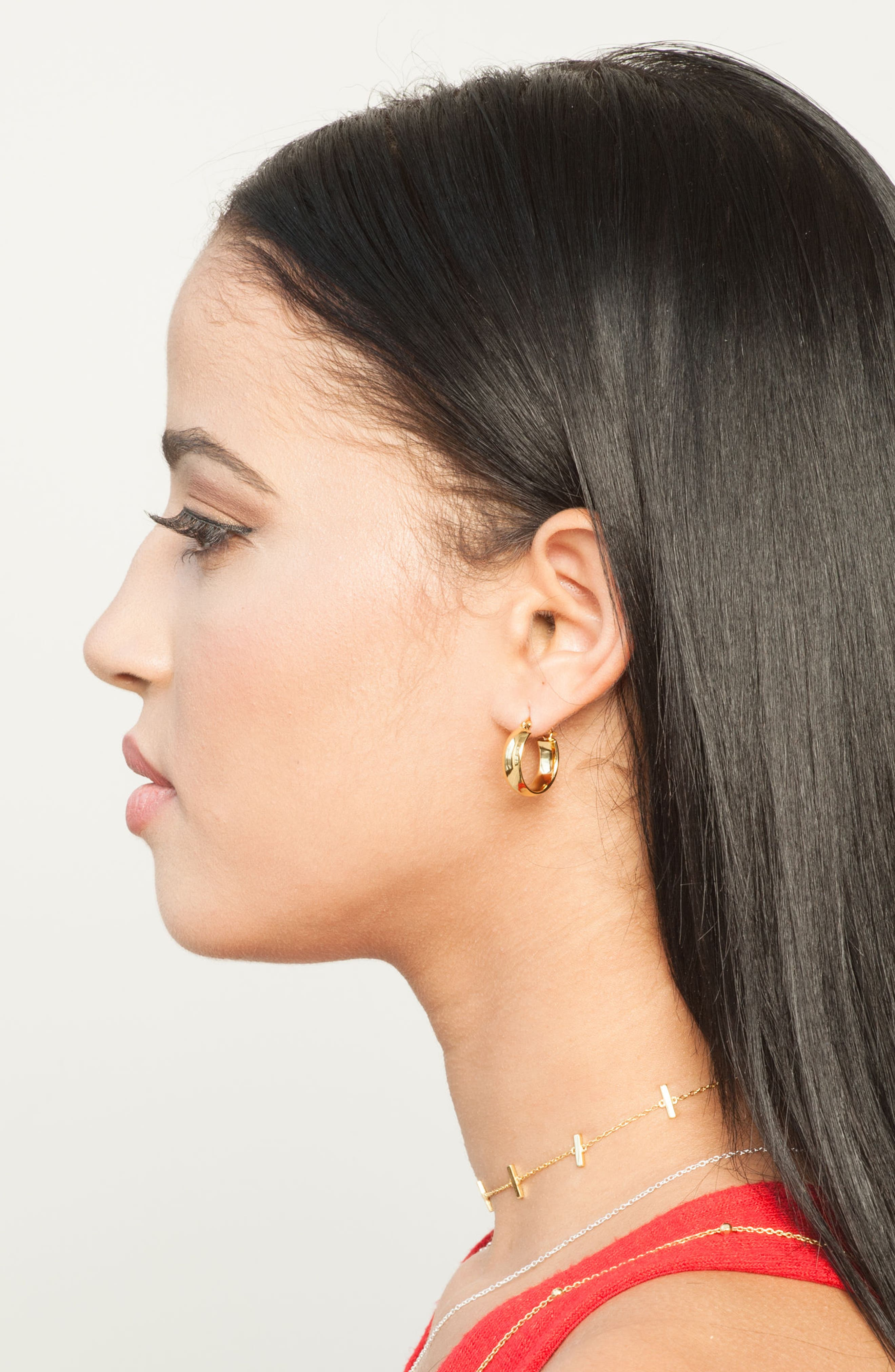 Small Curved Hoop Earrings,                             Alternate thumbnail 3, color,                             GOLD