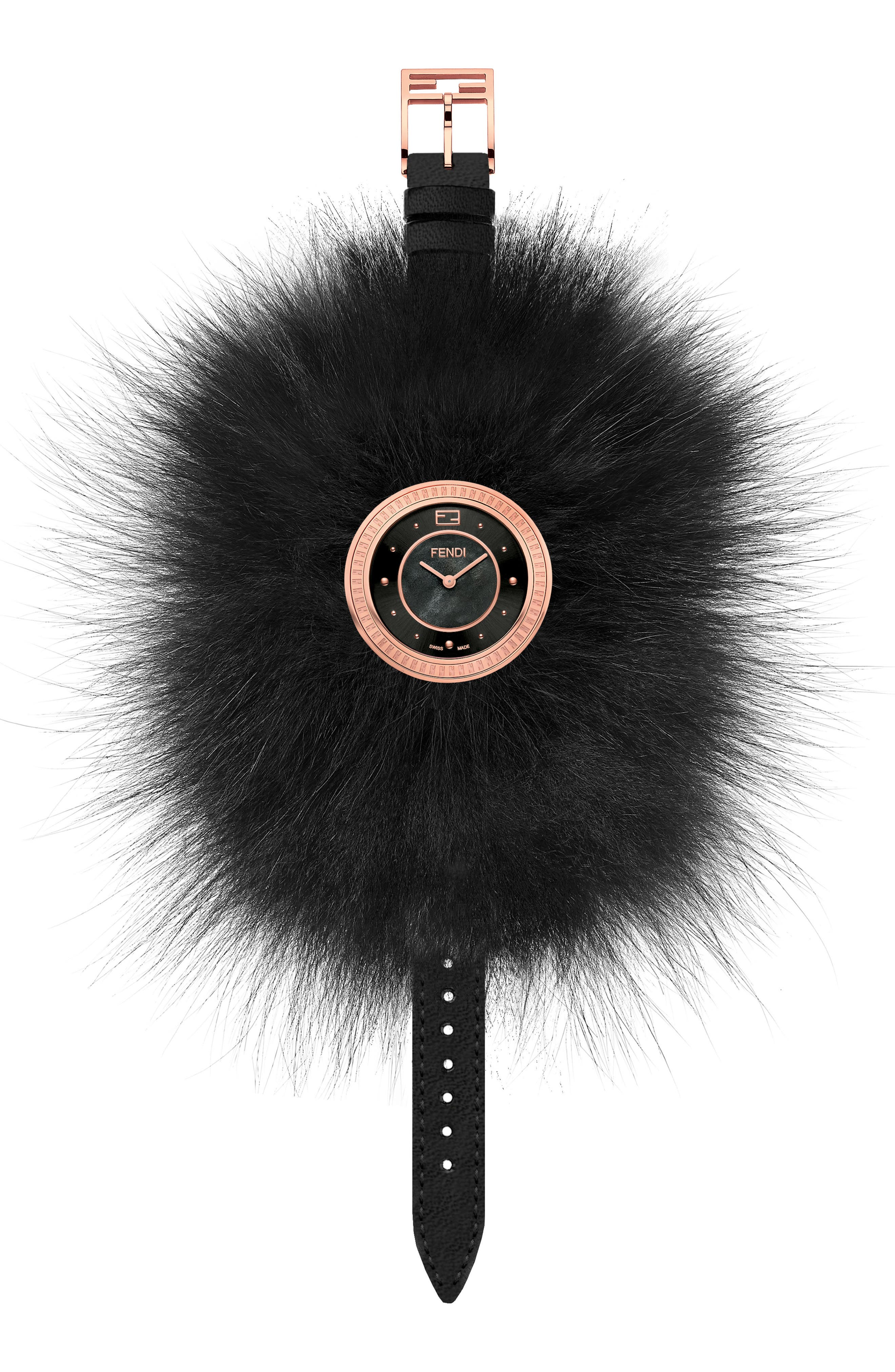 My Way Genuine Fox Fur Leather Strap Watch, 36mm,                             Alternate thumbnail 2, color,                             ROSE GOLD/ BLACK/ ROSE GOLD