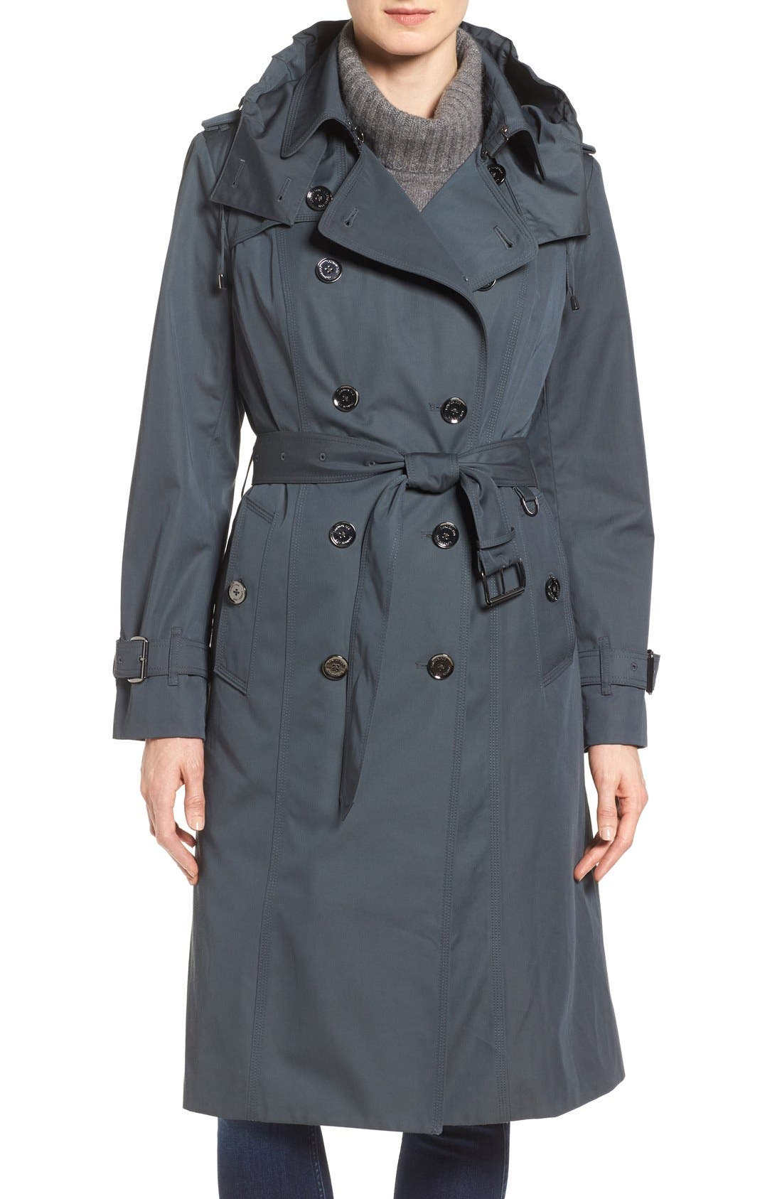 Double Breasted Trench Coat,                             Main thumbnail 1, color,                             SLATE