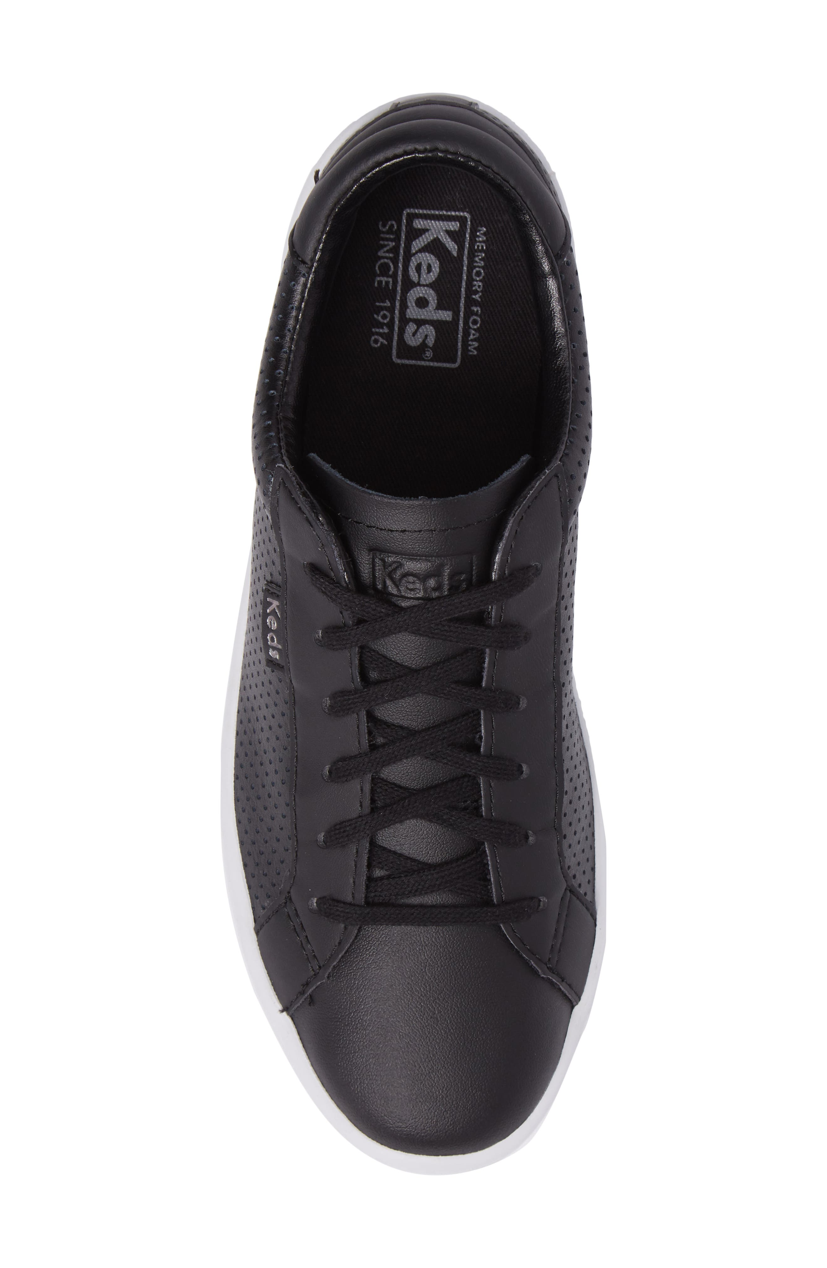 Ace Perforated Low Top Sneaker,                             Alternate thumbnail 5, color,                             001