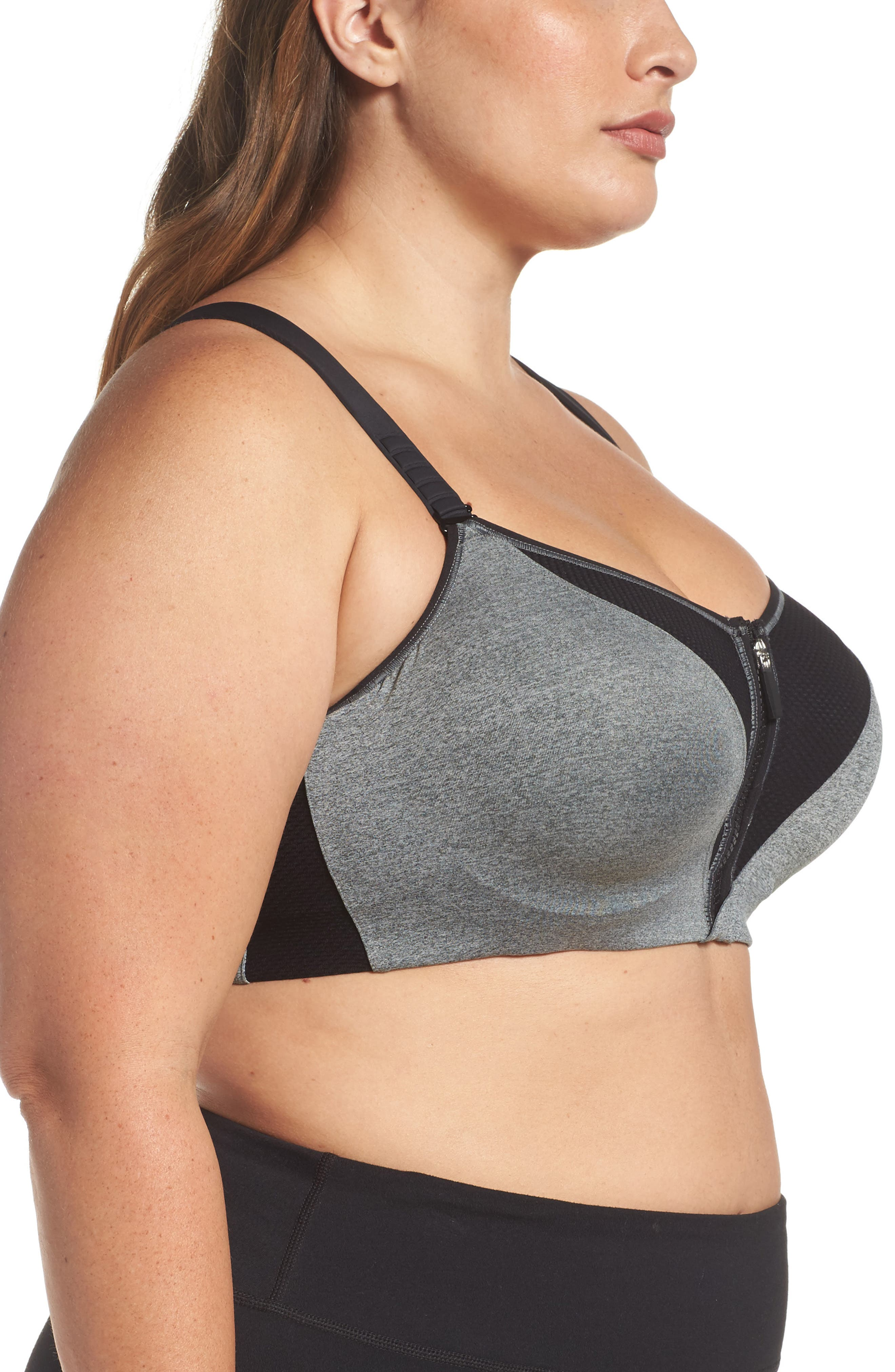 Zip Fit Underwire Sports Bra,                             Alternate thumbnail 3, color,                             032