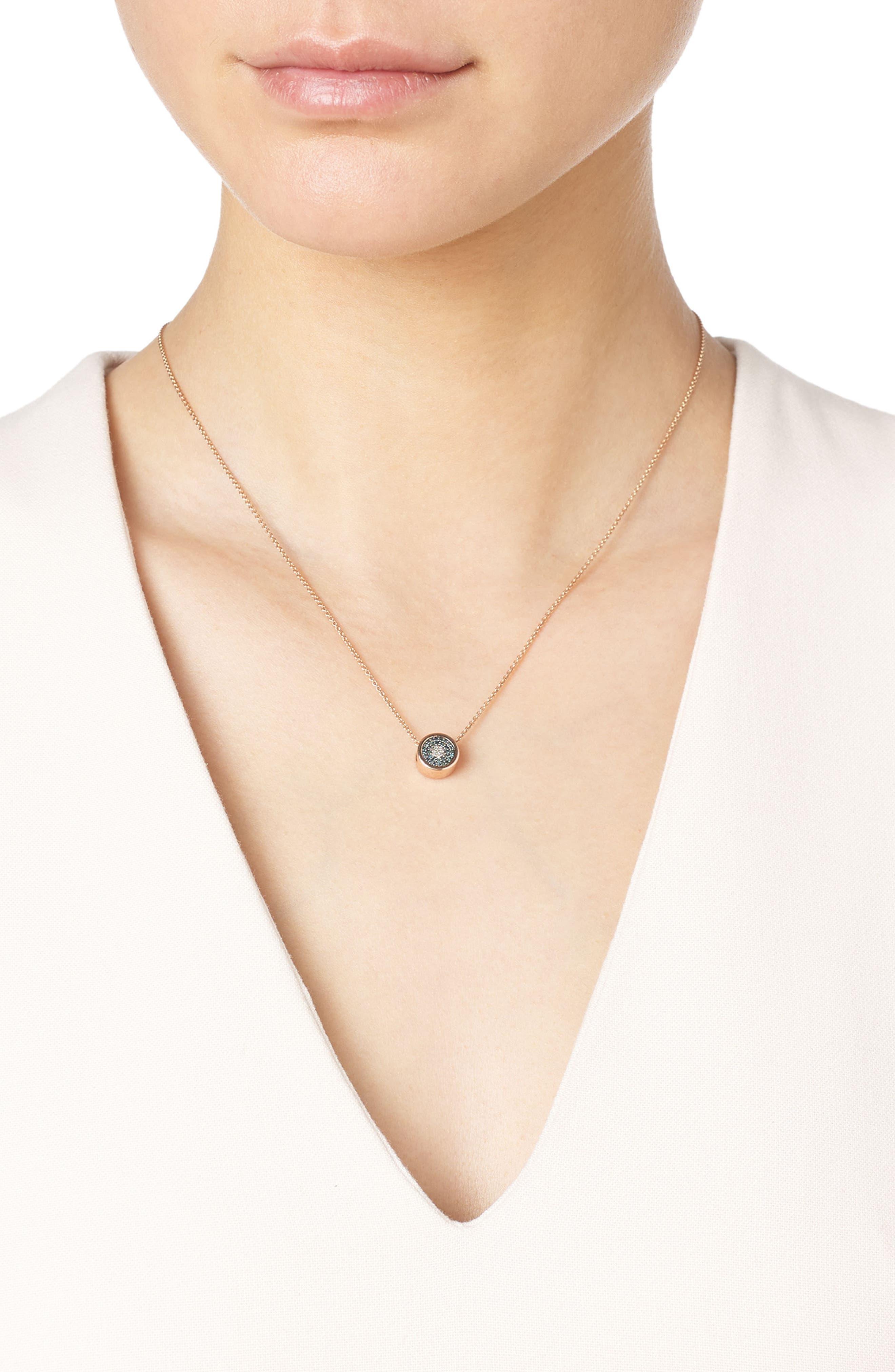 MONICA VINADER,                             Evil Eye Diamond Pendant Necklace,                             Alternate thumbnail 2, color,                             ROSE GOLD/ DIAMOND
