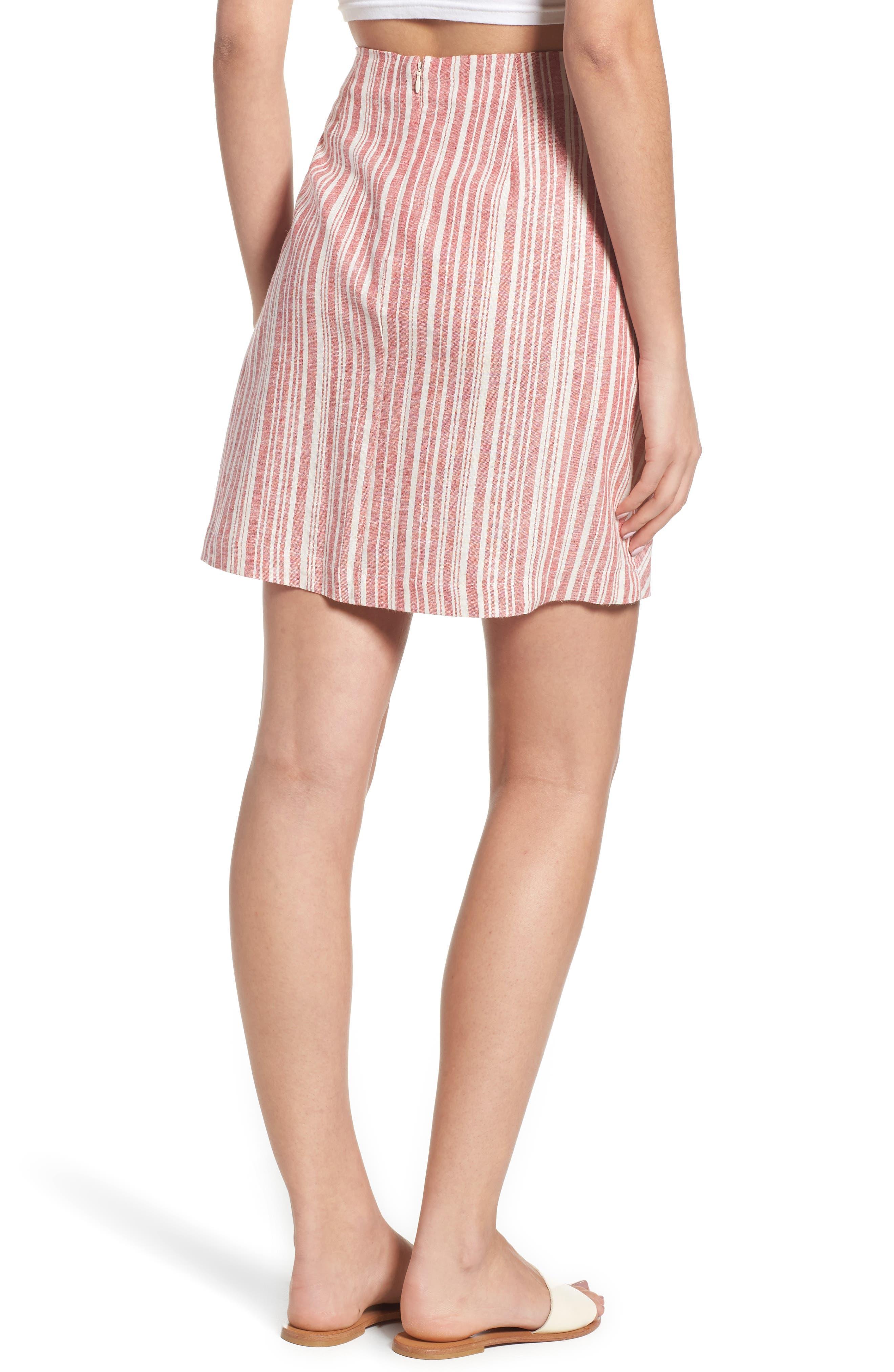 Stripe Linen Blend Wrap Skirt,                             Alternate thumbnail 2, color,                             610