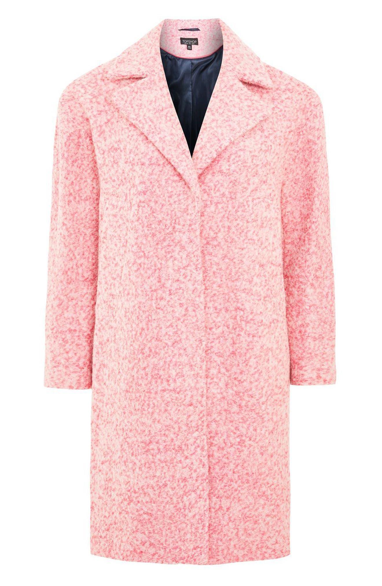 Fluoro Bouclé Cocoon Coat,                             Alternate thumbnail 3, color,                             650