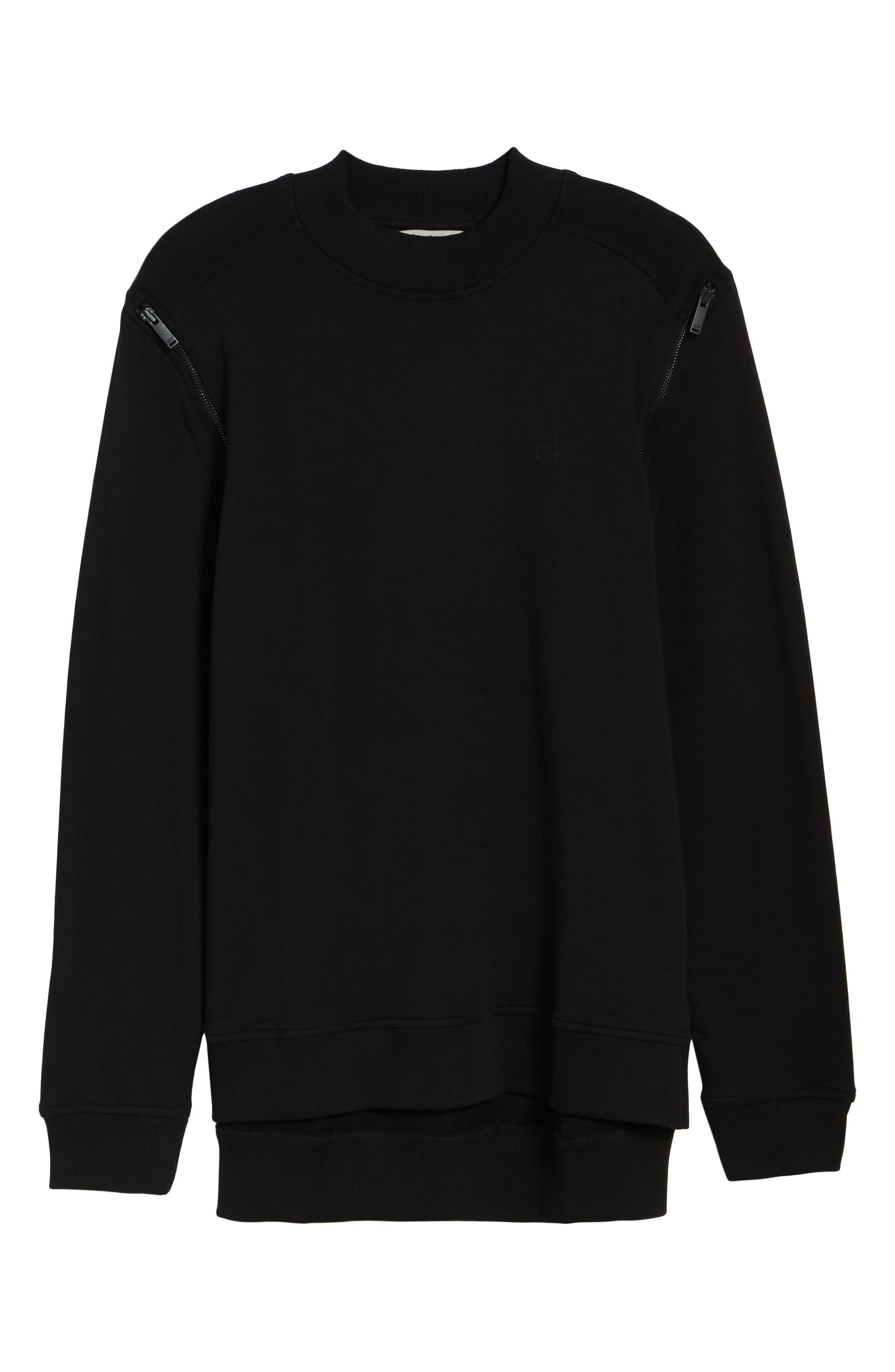 Zip Shoulder Sweatshirt,                             Alternate thumbnail 6, color,                             010