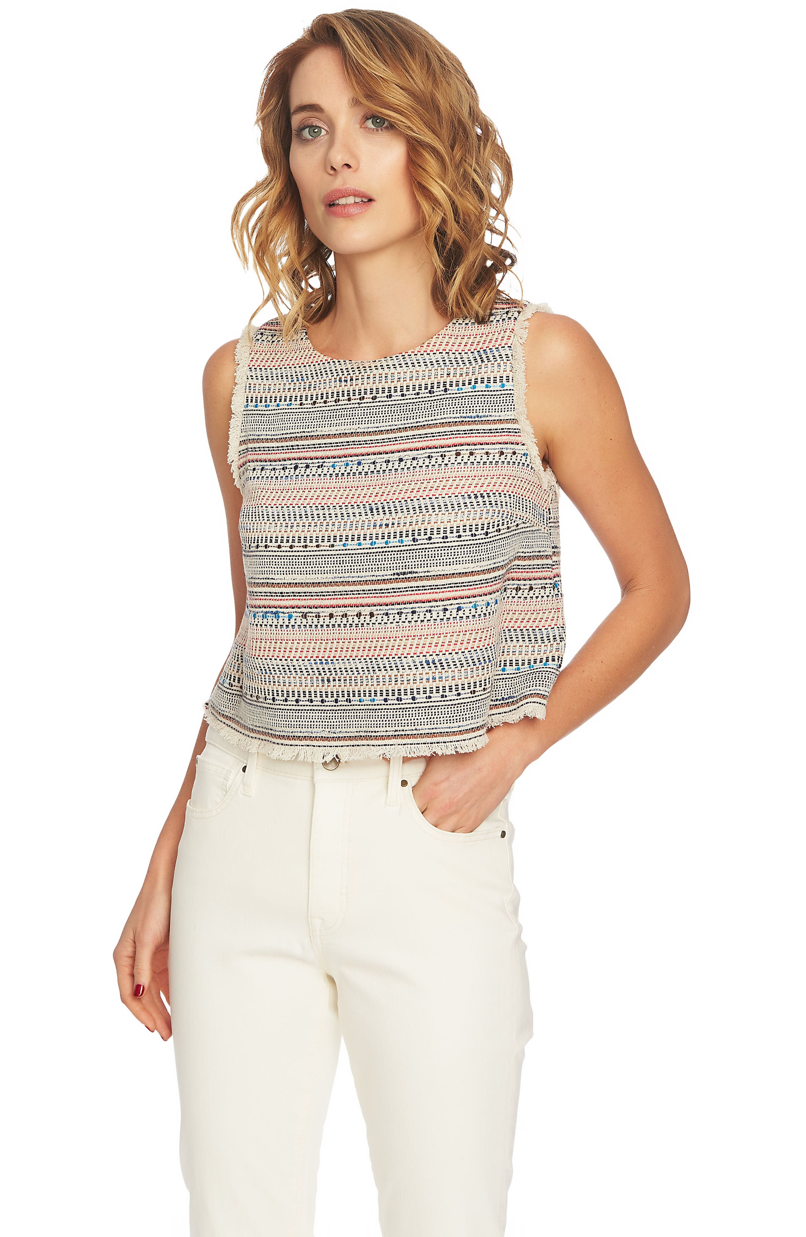 Frayed Edge Tweed Top,                             Alternate thumbnail 3, color,                             ANTIQUE WHITE