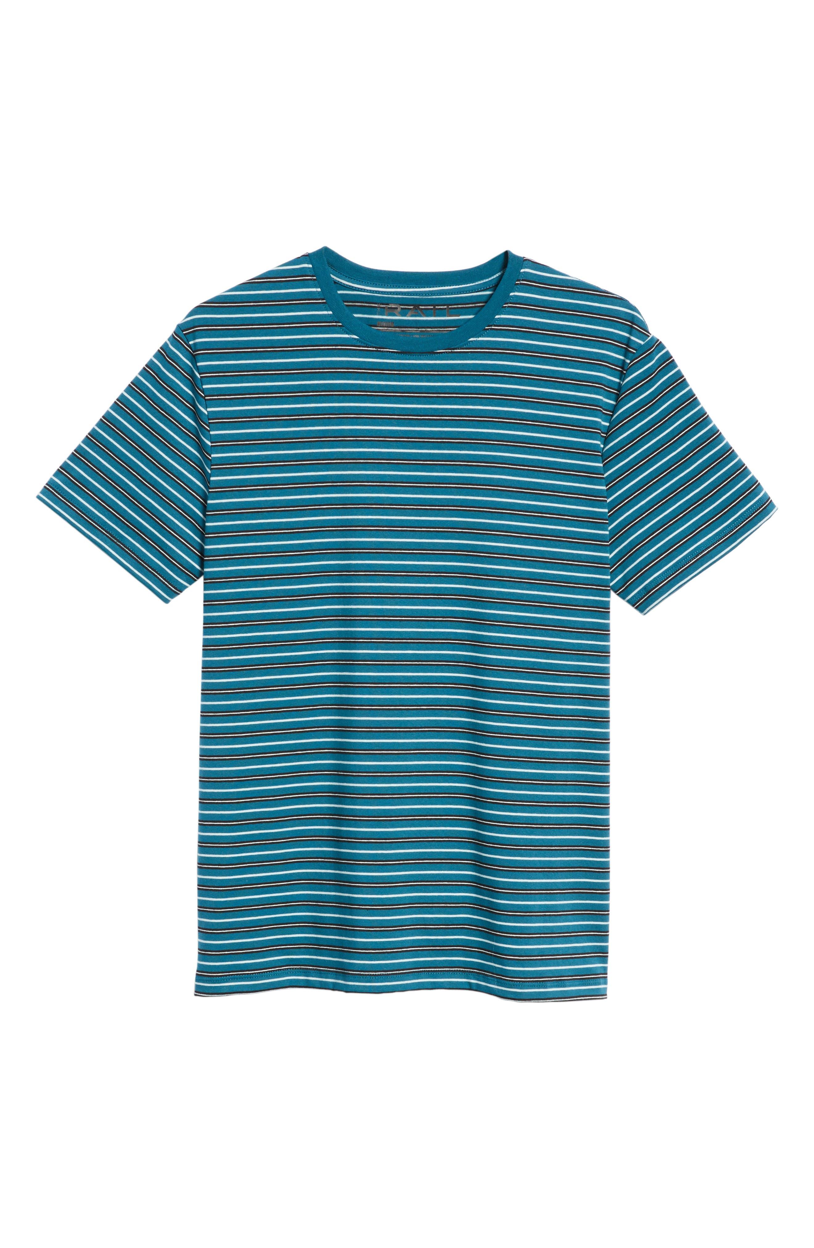 Striped T-Shirt,                             Alternate thumbnail 6, color,                             TEAL GREEN-WHITE STRIPE