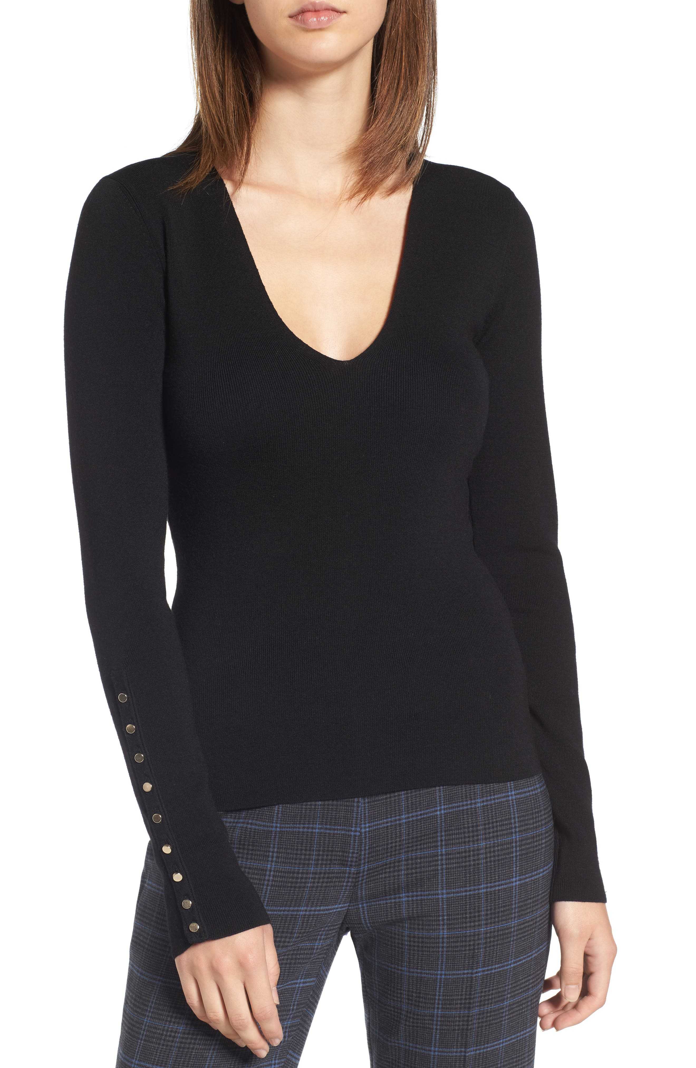 Merino Wool Blend Rib Knit Pullover,                         Main,                         color, 001