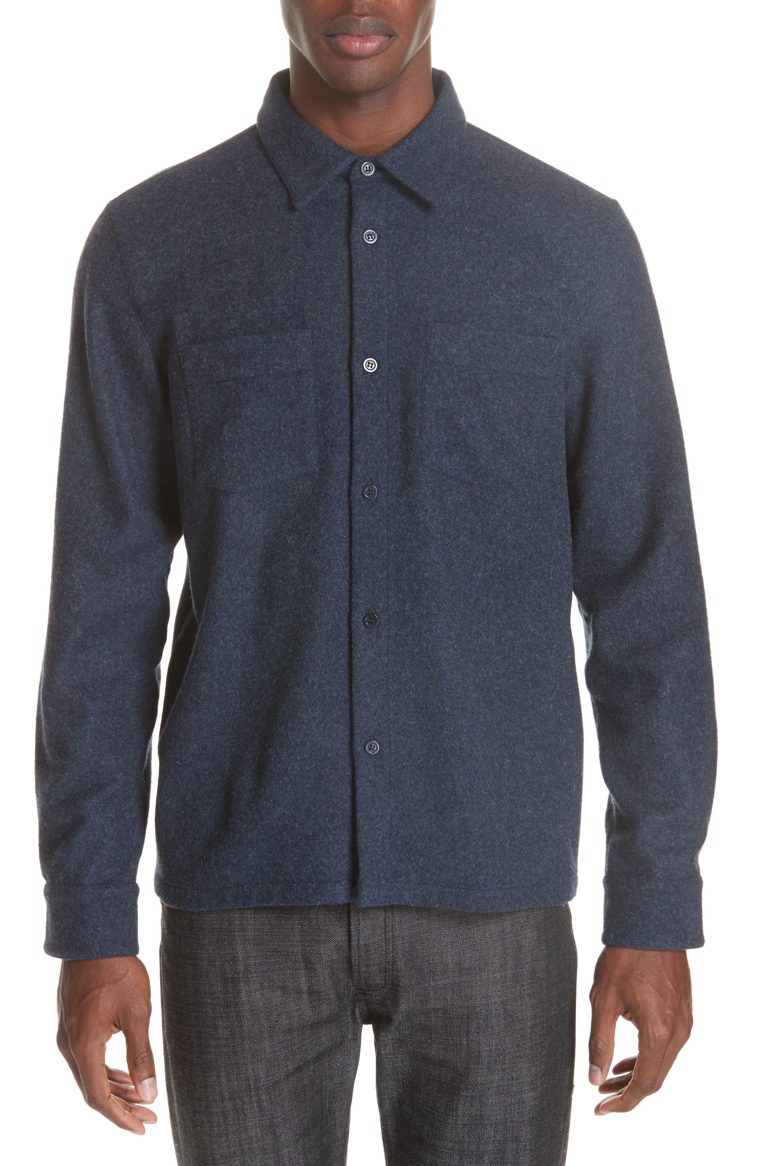 Surchemise Joe Wool Shirt, Main, color, MARINE CHINE PIA