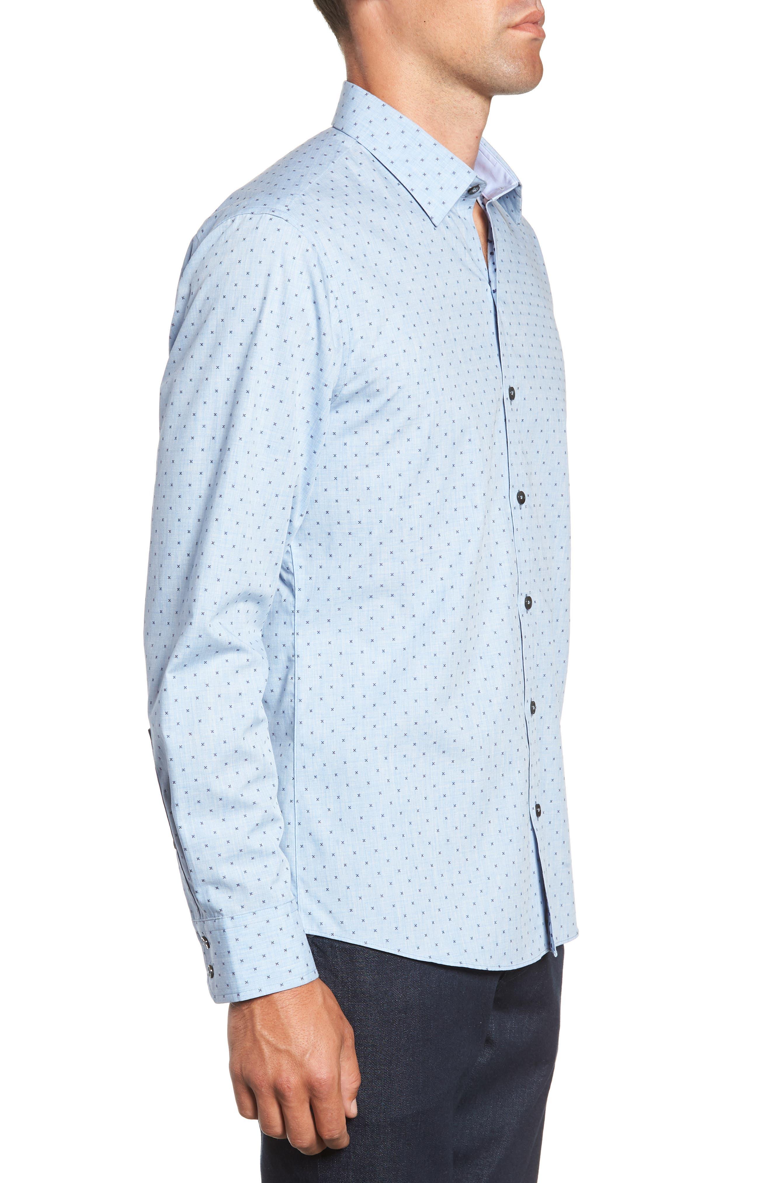 Zhang Regular Fit Sport Shirt,                             Alternate thumbnail 4, color,                             LIGHT BLUE