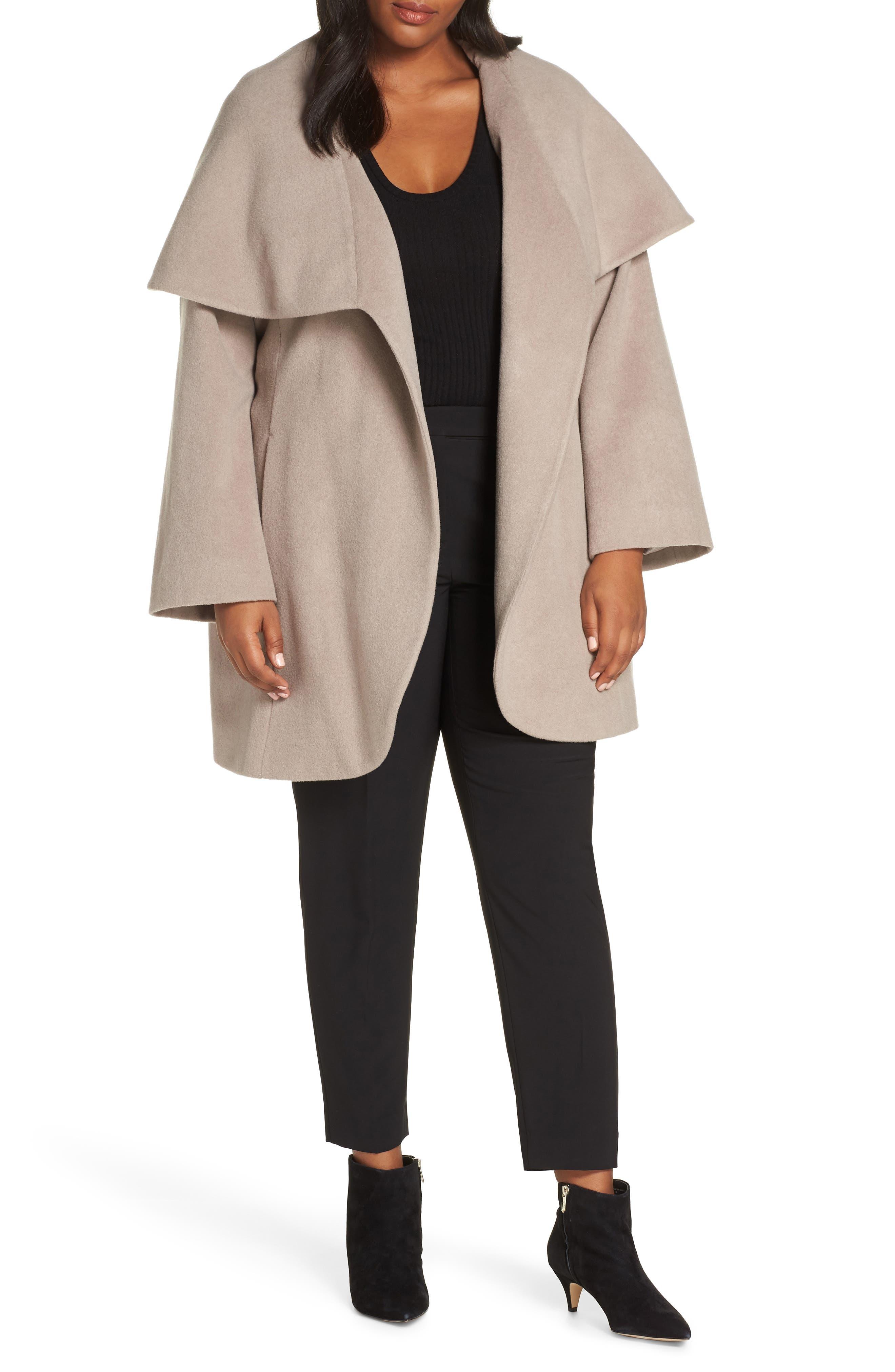 Marla Cutaway Wrap Coat with Oversize Collar,                             Main thumbnail 1, color,