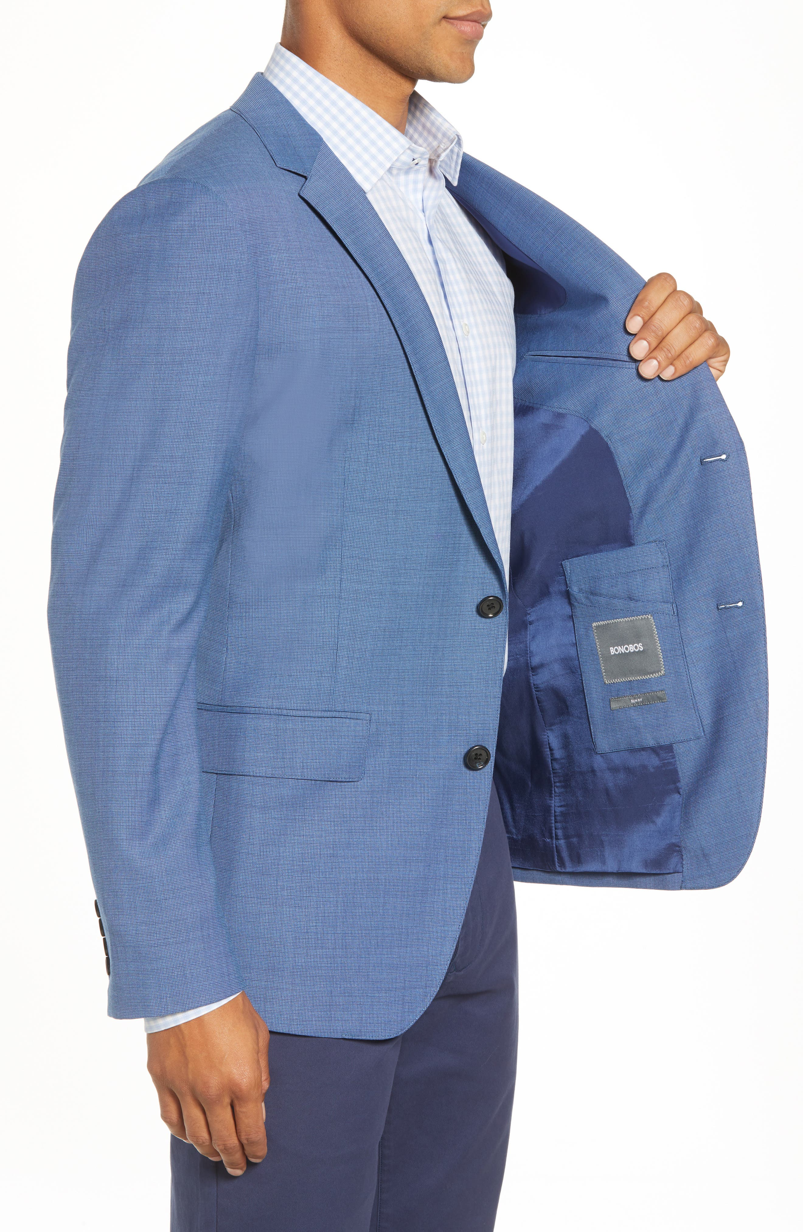 Jetsetter Trim Fit Stretch Solid Wool Suit Jacket,                             Alternate thumbnail 3, color,                             BRIGHTER BLUE