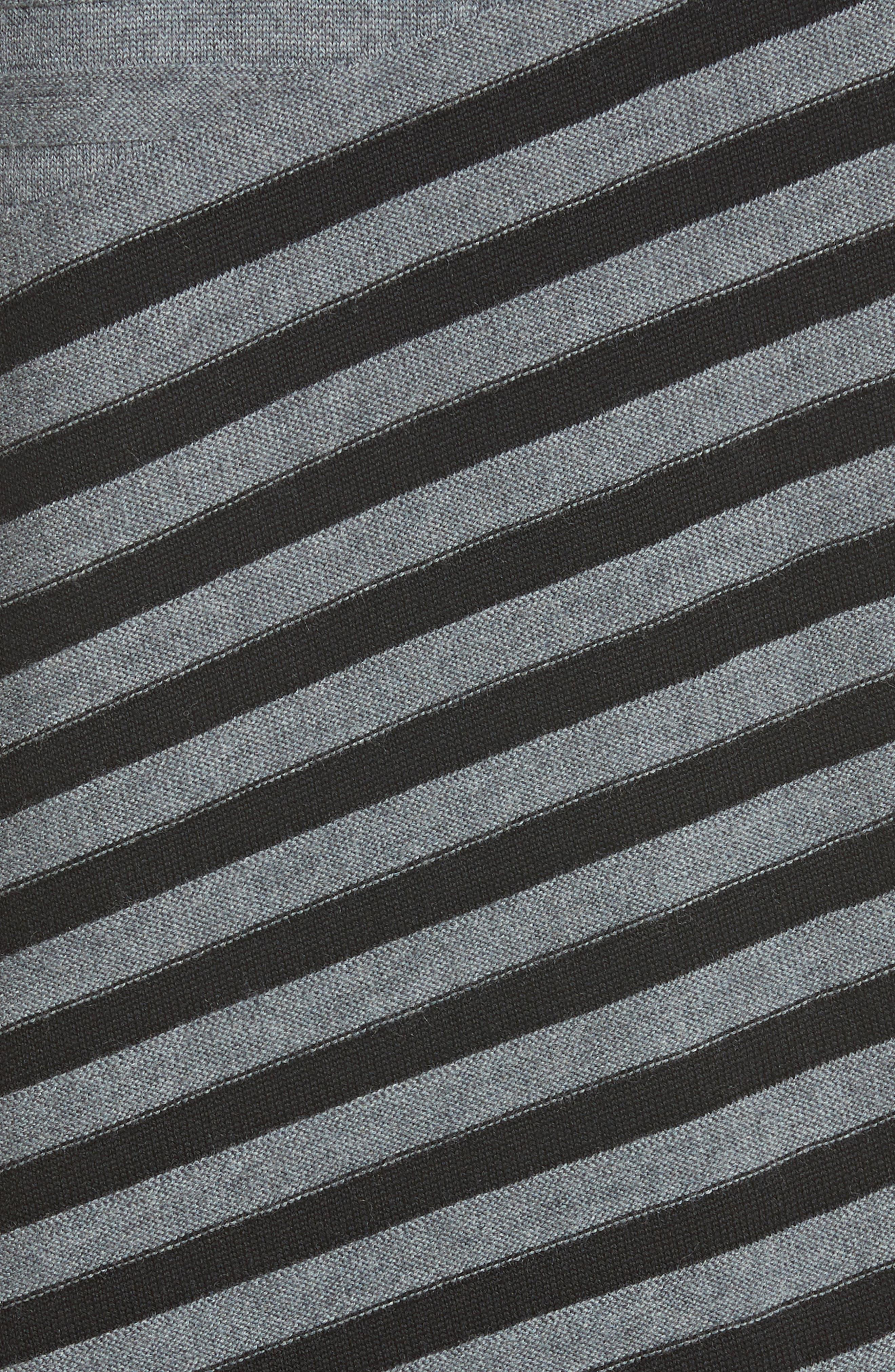 Stripe Wool Asymmetrical Sweater,                             Alternate thumbnail 5, color,                             030