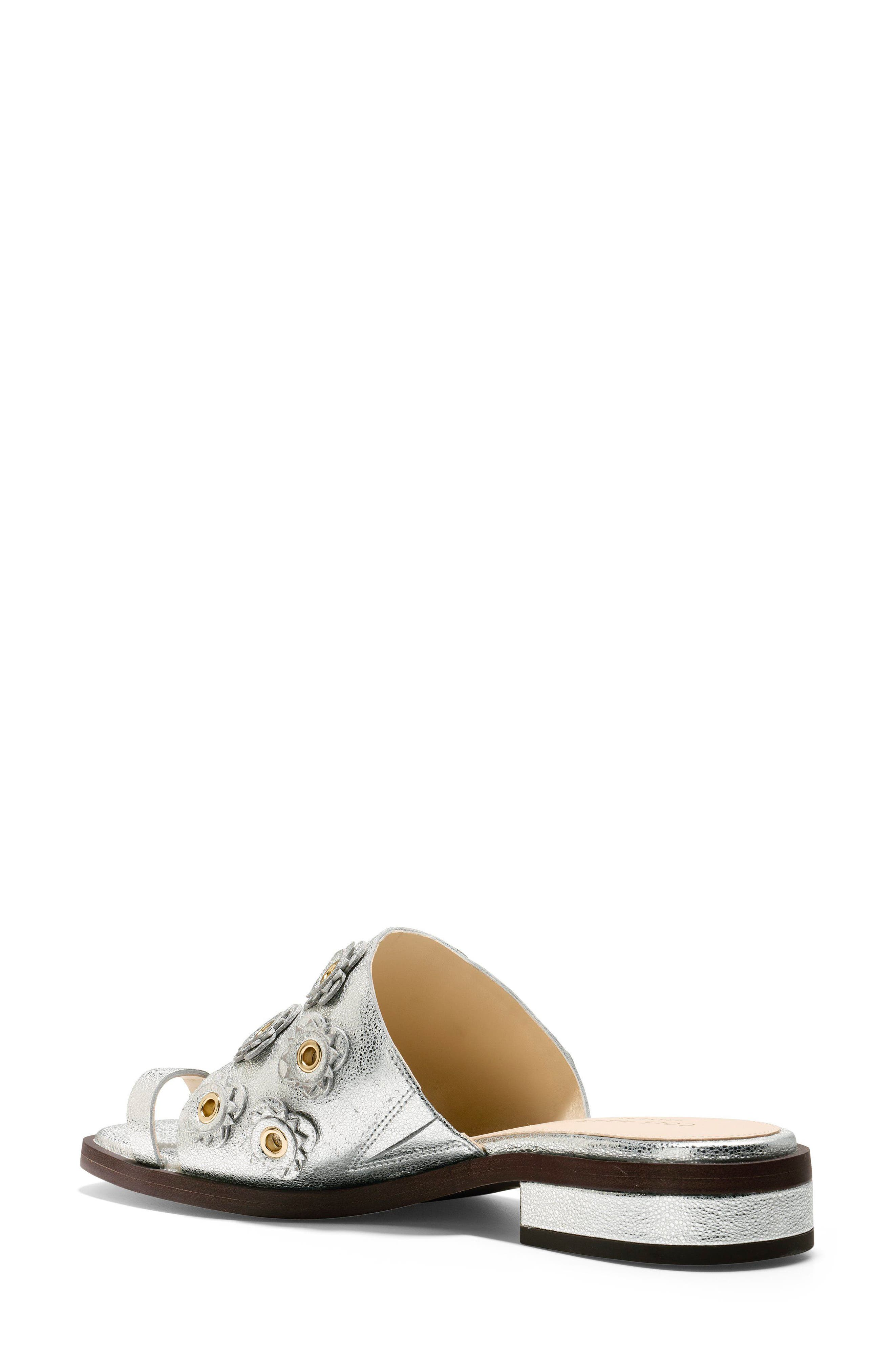 Carly Floral Sandal,                             Alternate thumbnail 2, color,                             SILVER METALLIC LEATHER