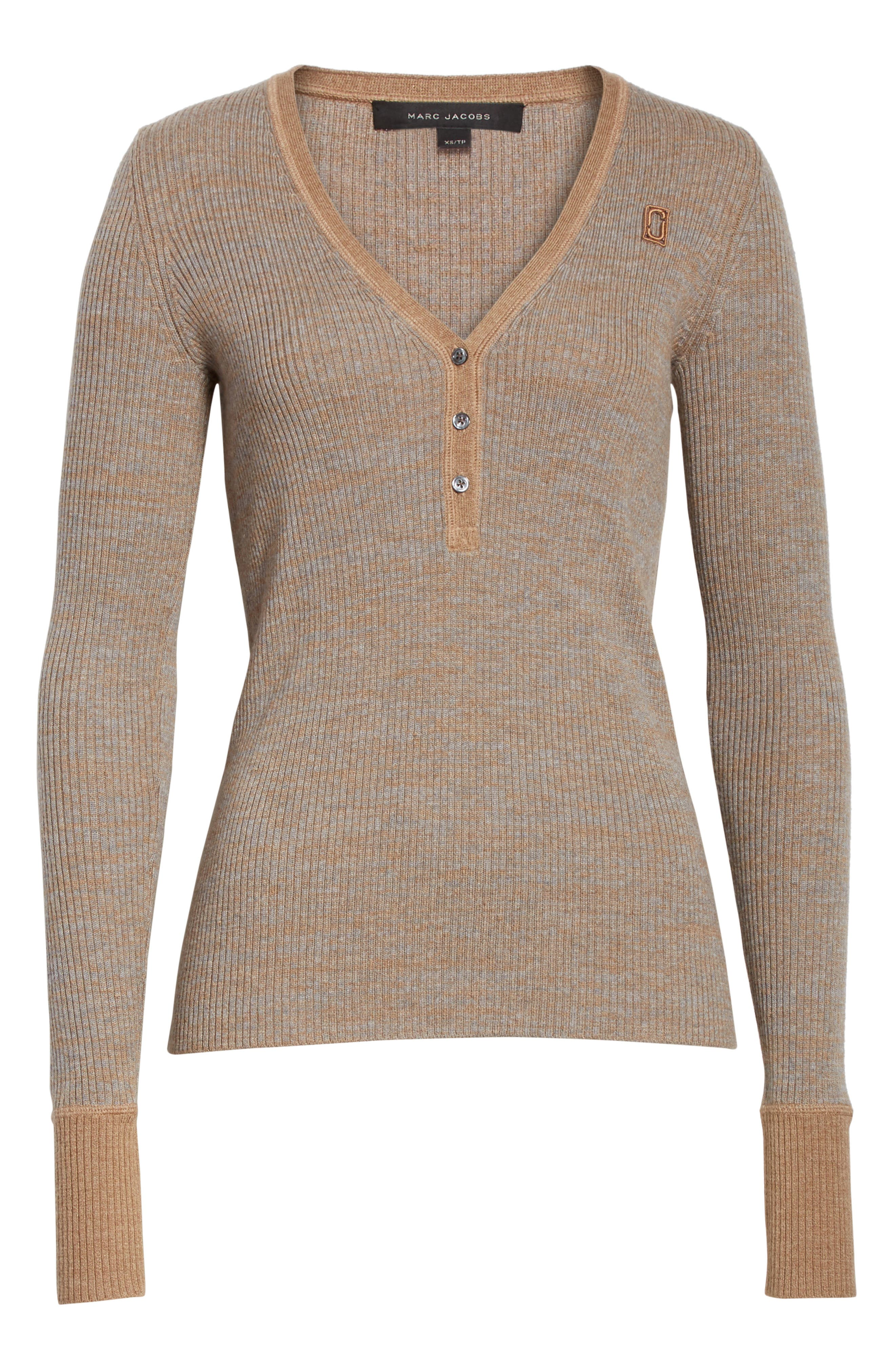 Ribbed V-Neck Wool Sweater,                             Alternate thumbnail 6, color,                             208