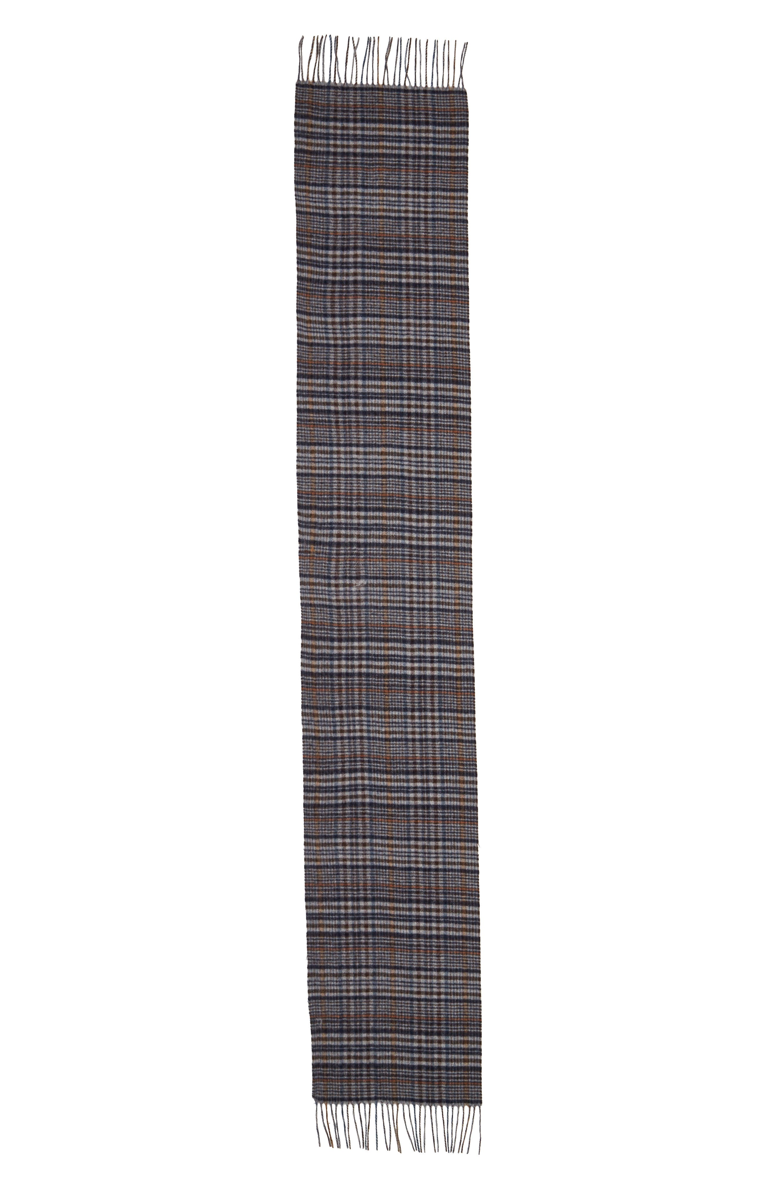 Tattersall Cashmere Scarf,                             Alternate thumbnail 2, color,                             BLACK/ BROWN