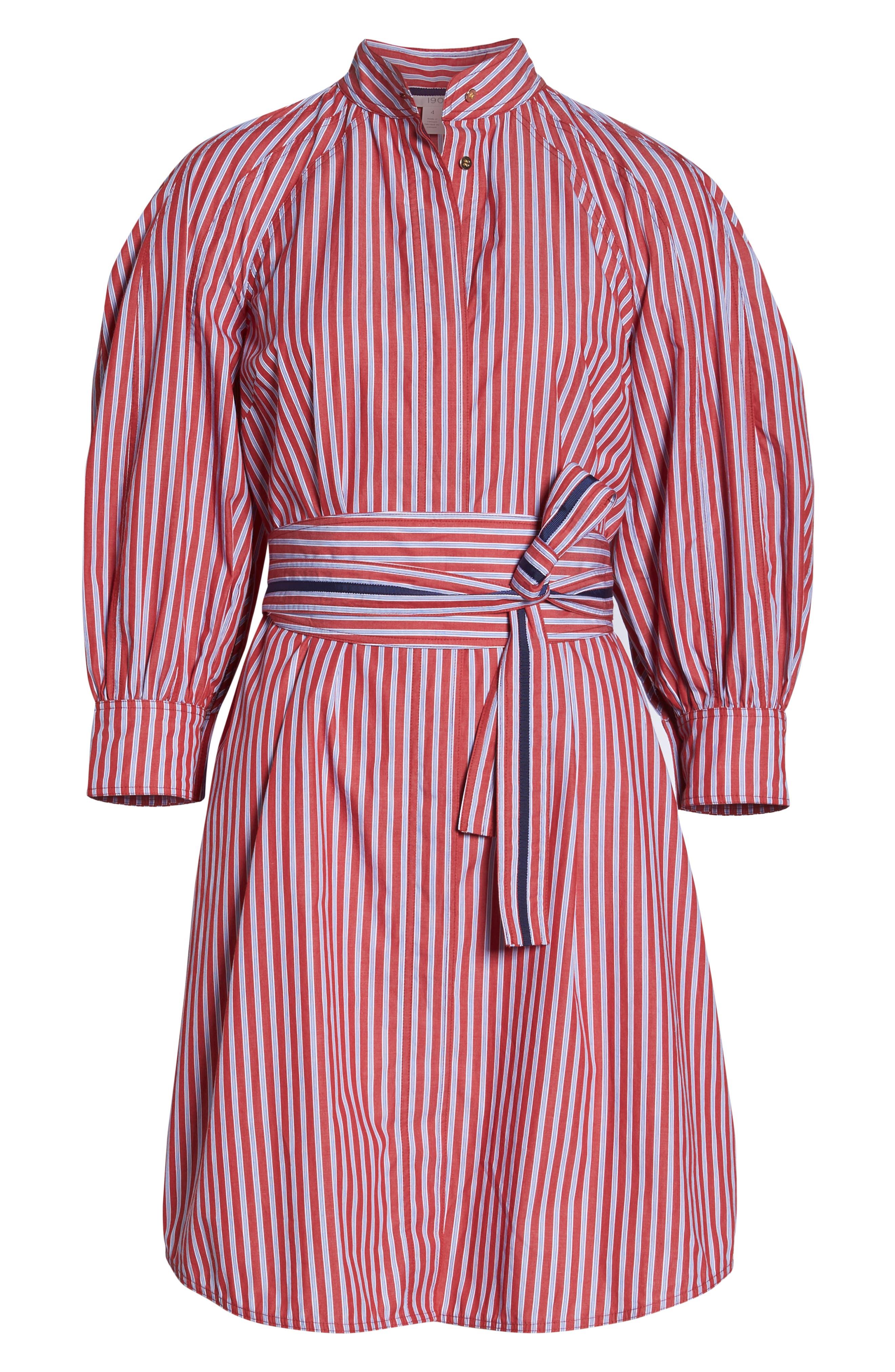 Stripe Tie Waist Shirtdress,                             Alternate thumbnail 7, color,                             600