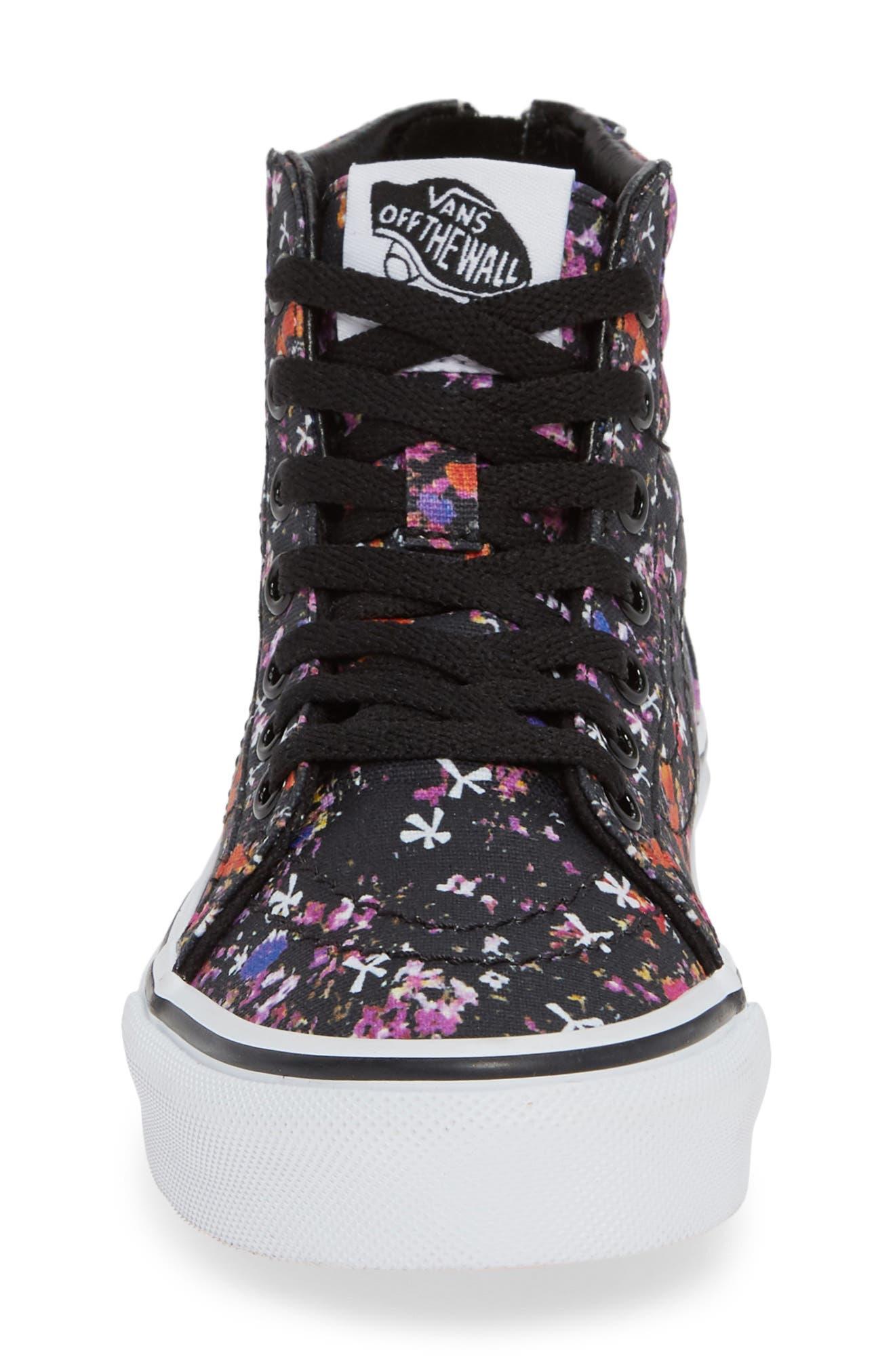 Sk8-Hi Zip Sneaker,                             Alternate thumbnail 4, color,                             BLACK/ TRUE WHITE