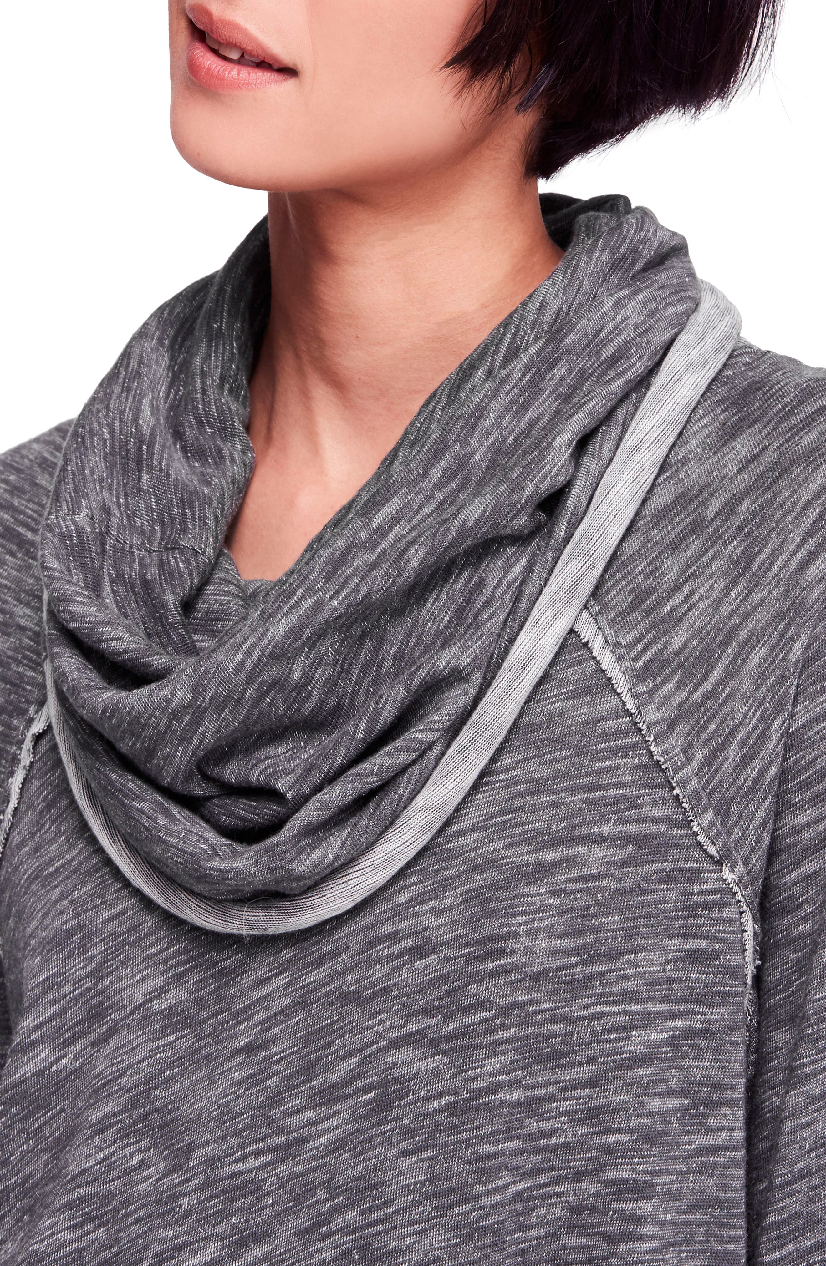 Cocoon Cowl Neck Top,                             Alternate thumbnail 4, color,                             CHARCOAL