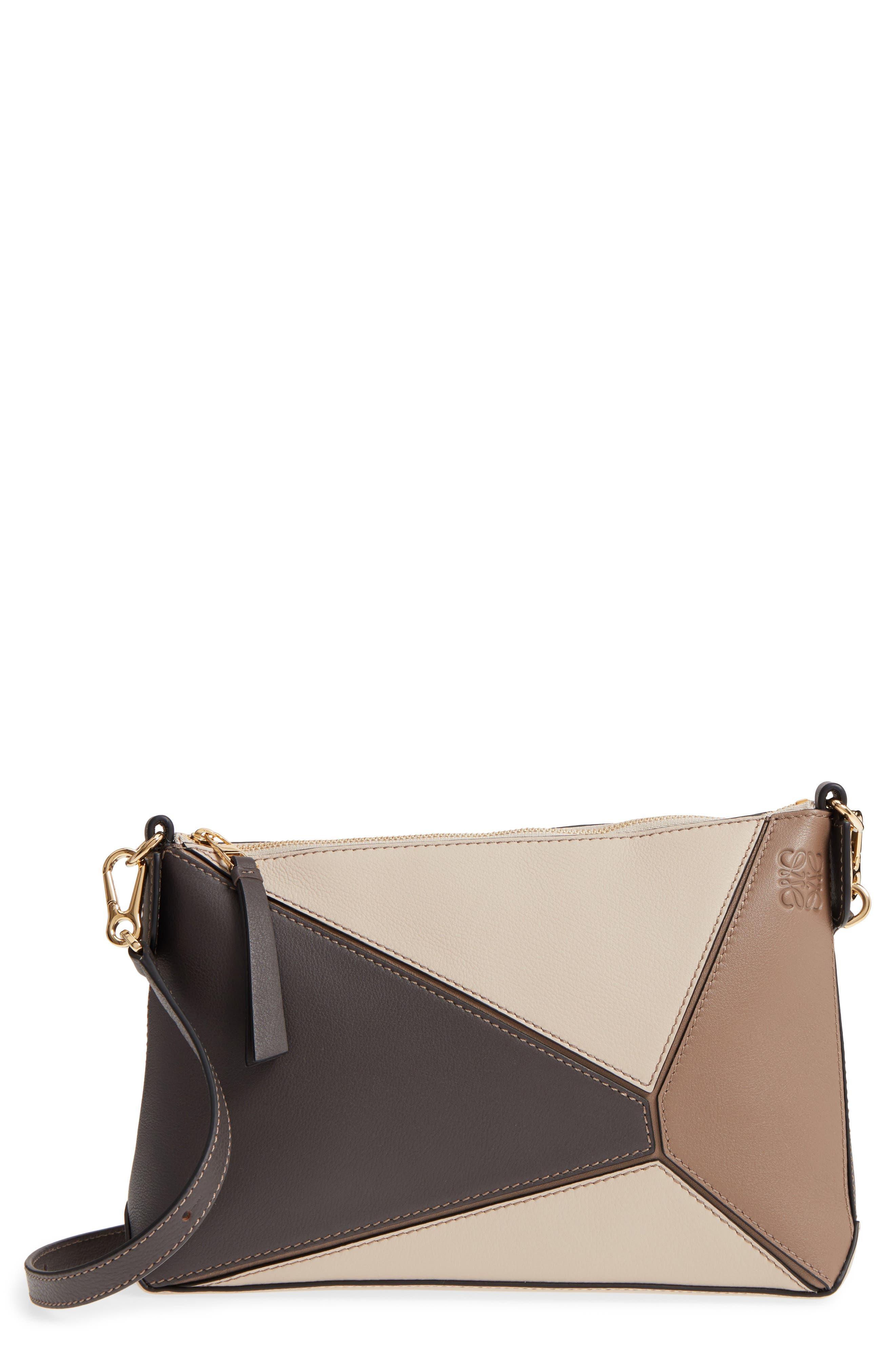 Mini Puzzle Calfskin Leather Crossbody Bag,                             Main thumbnail 1, color,                             DARK TAUPE MULTITONE