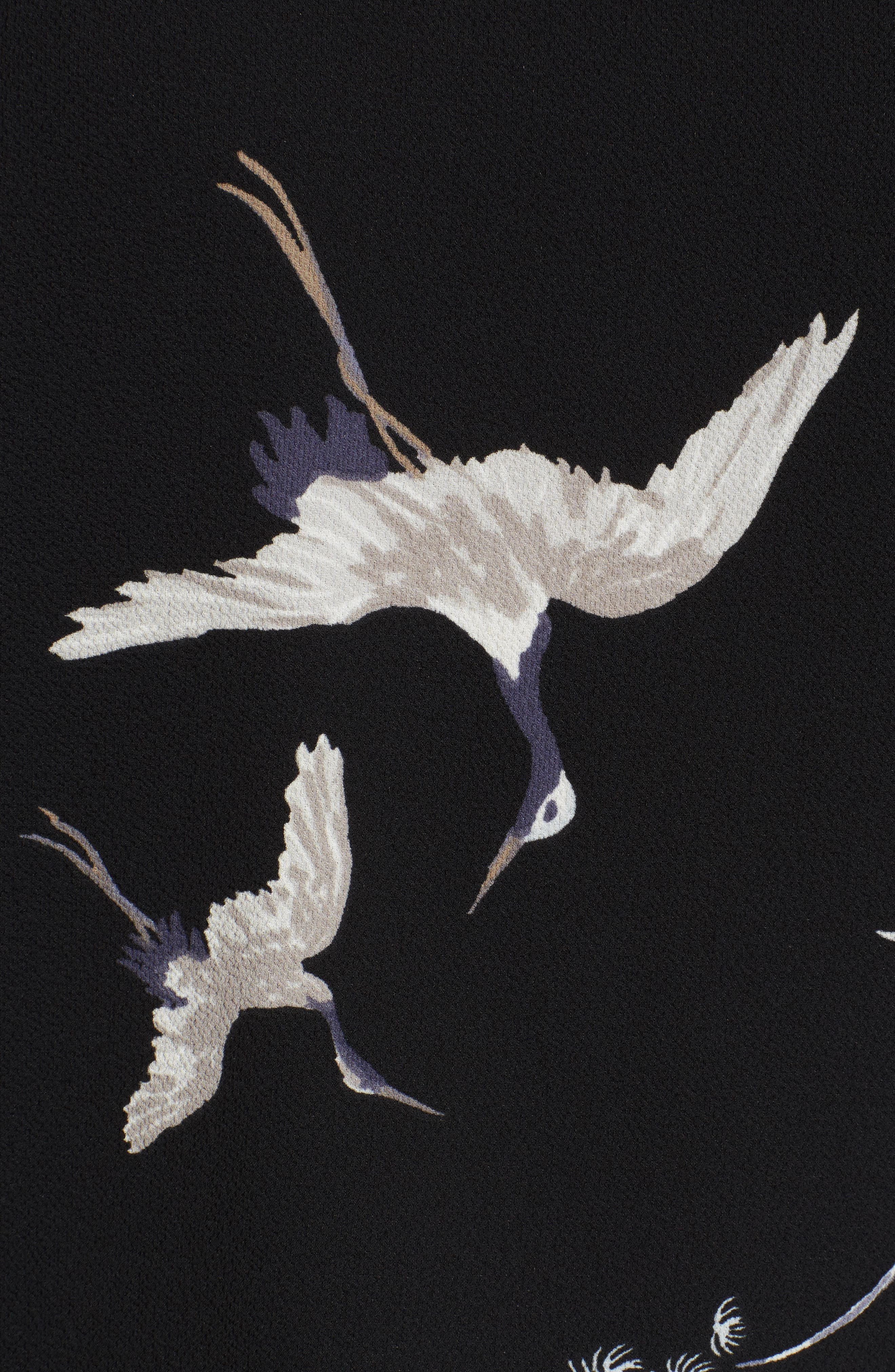 LEITH,                             Bird Print Blouse,                             Alternate thumbnail 5, color,                             001