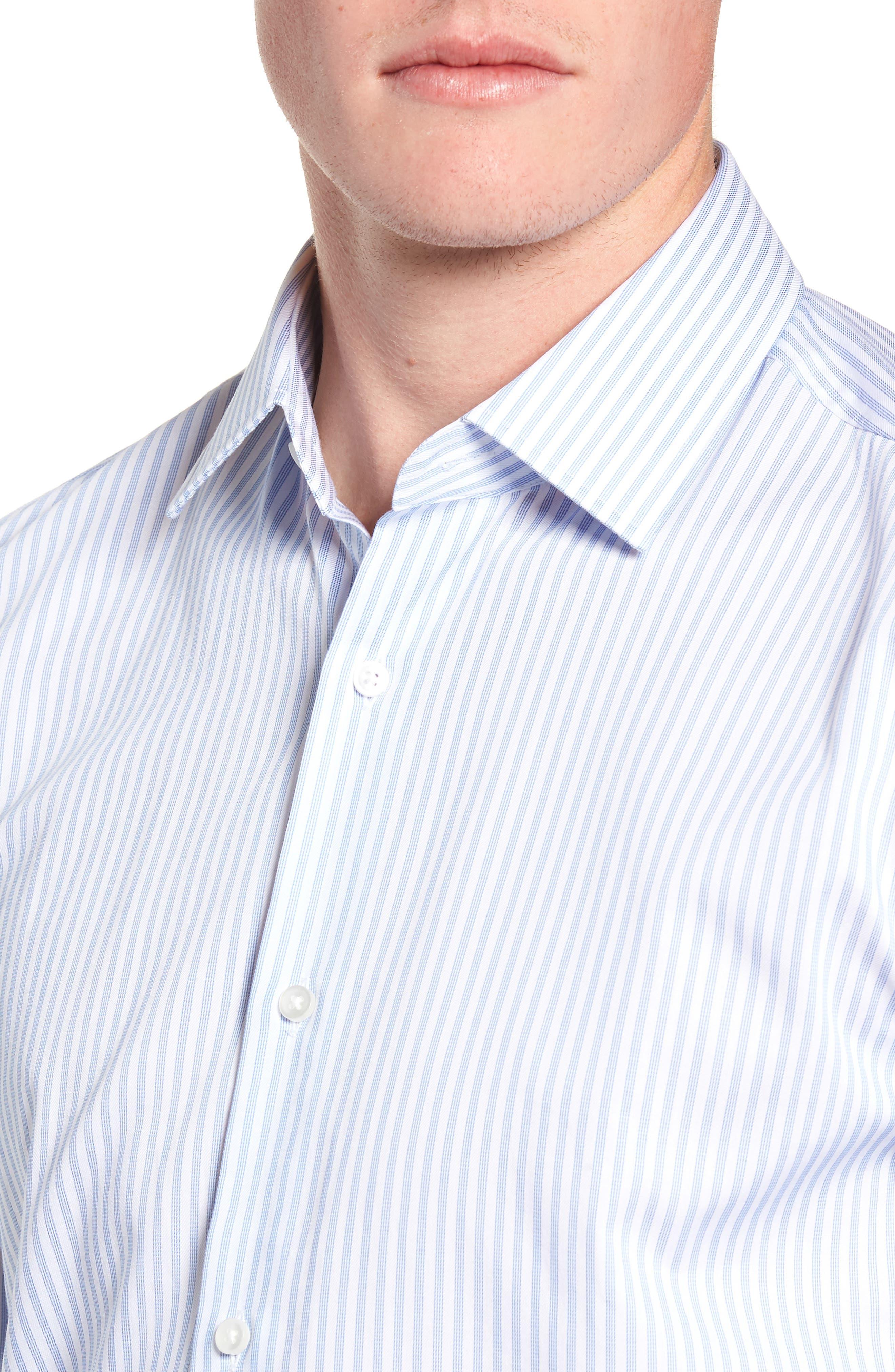 Jenno Trim Fit Stripe Dress Shirt,                             Alternate thumbnail 2, color,                             BLUE