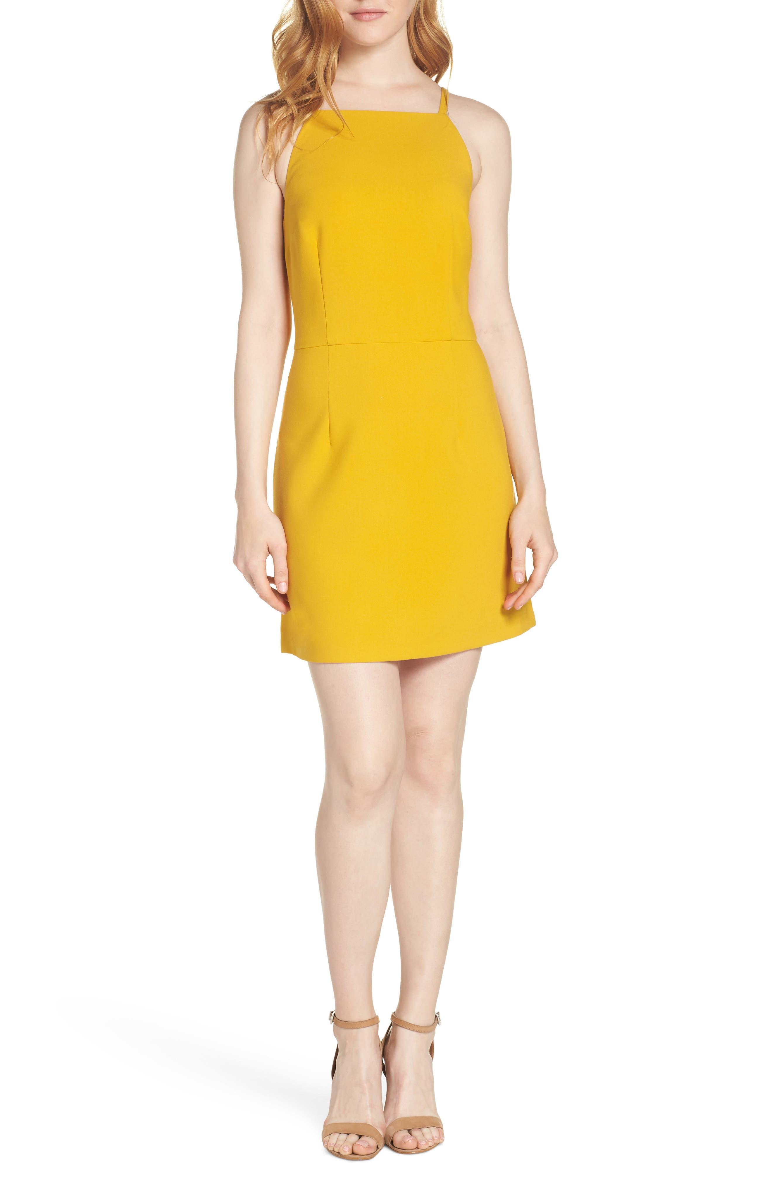 French Connection Whisper Light Sheath Minidress, Yellow