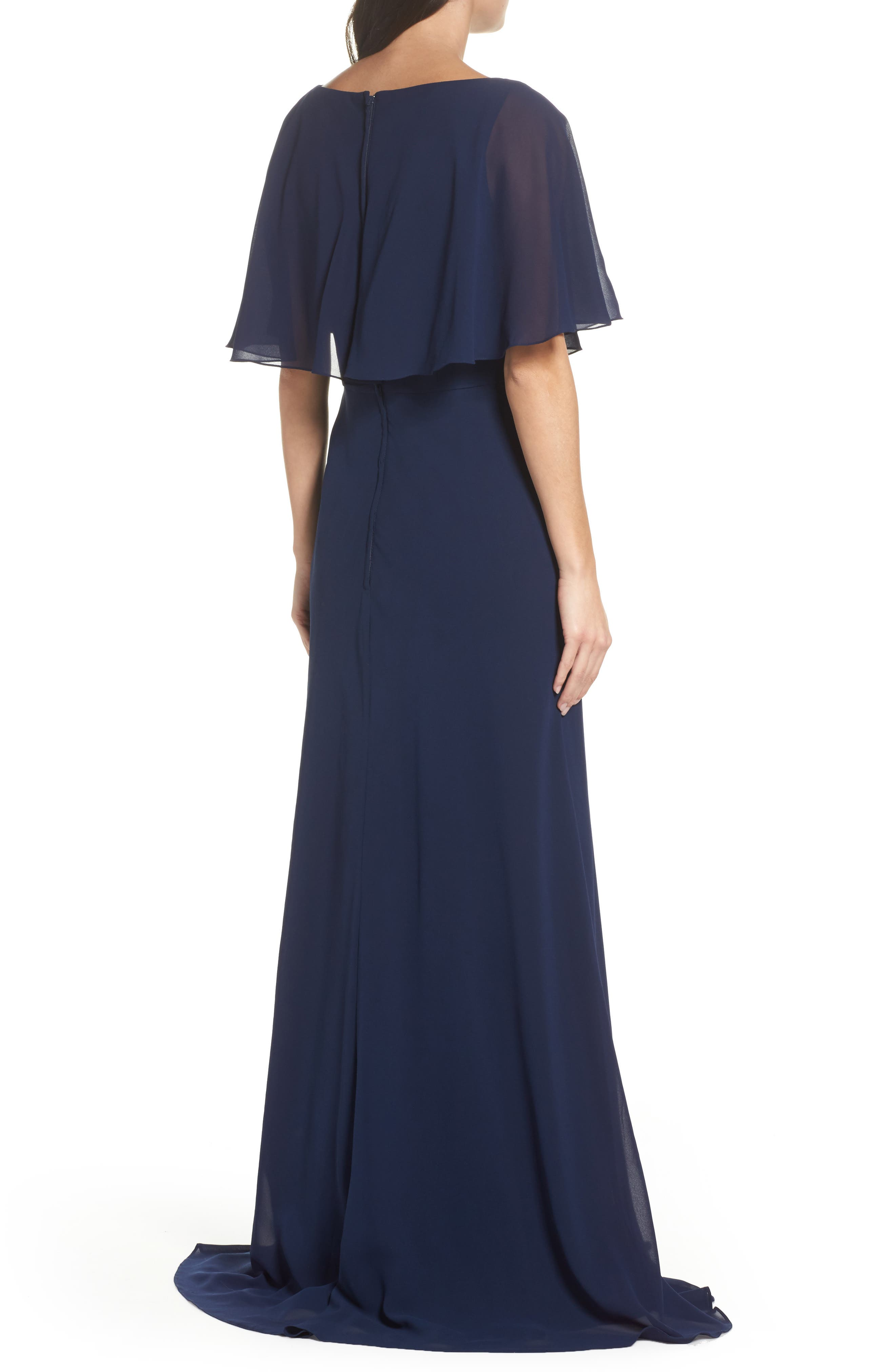 Popover Chiffon Gown,                             Alternate thumbnail 2, color,                             NAVY