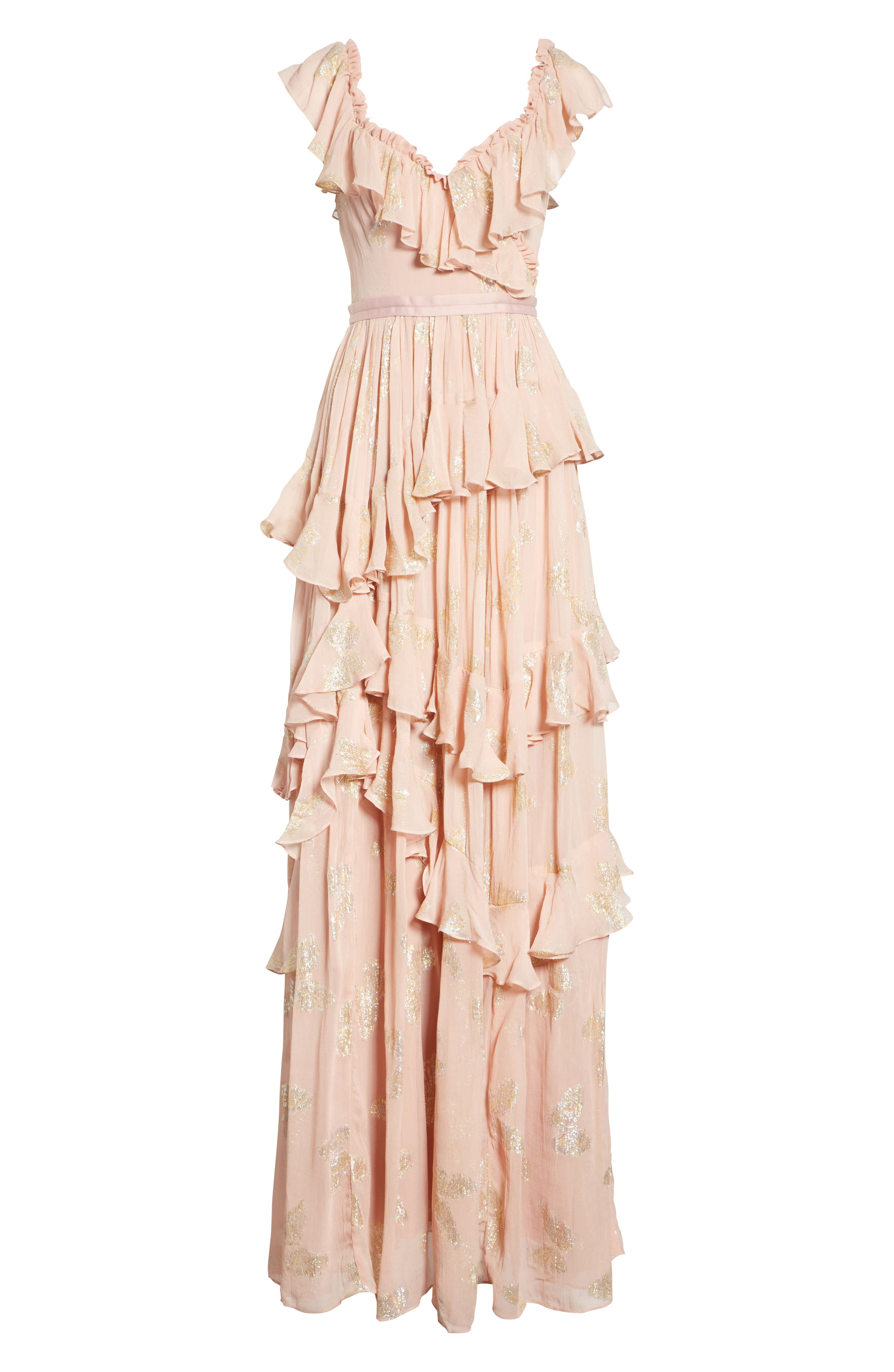 Ruffled Lurex<sup>®</sup> Butterfly Gown,                             Alternate thumbnail 6, color,                             VINTAGE ROSE