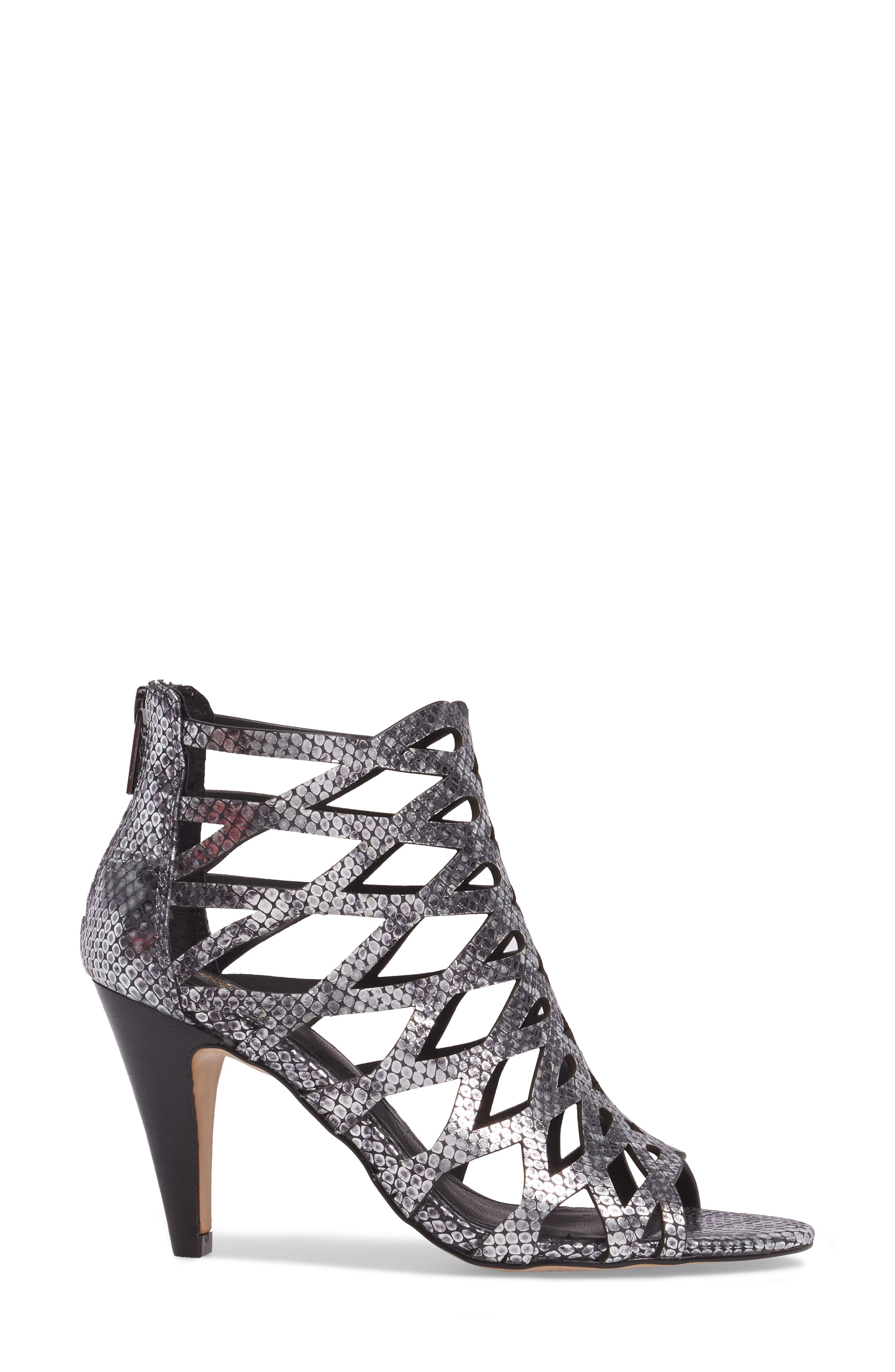 Debra Cage Sandal,                             Alternate thumbnail 3, color,                             ANTHRACITE SNAKE PRINT LEATHER