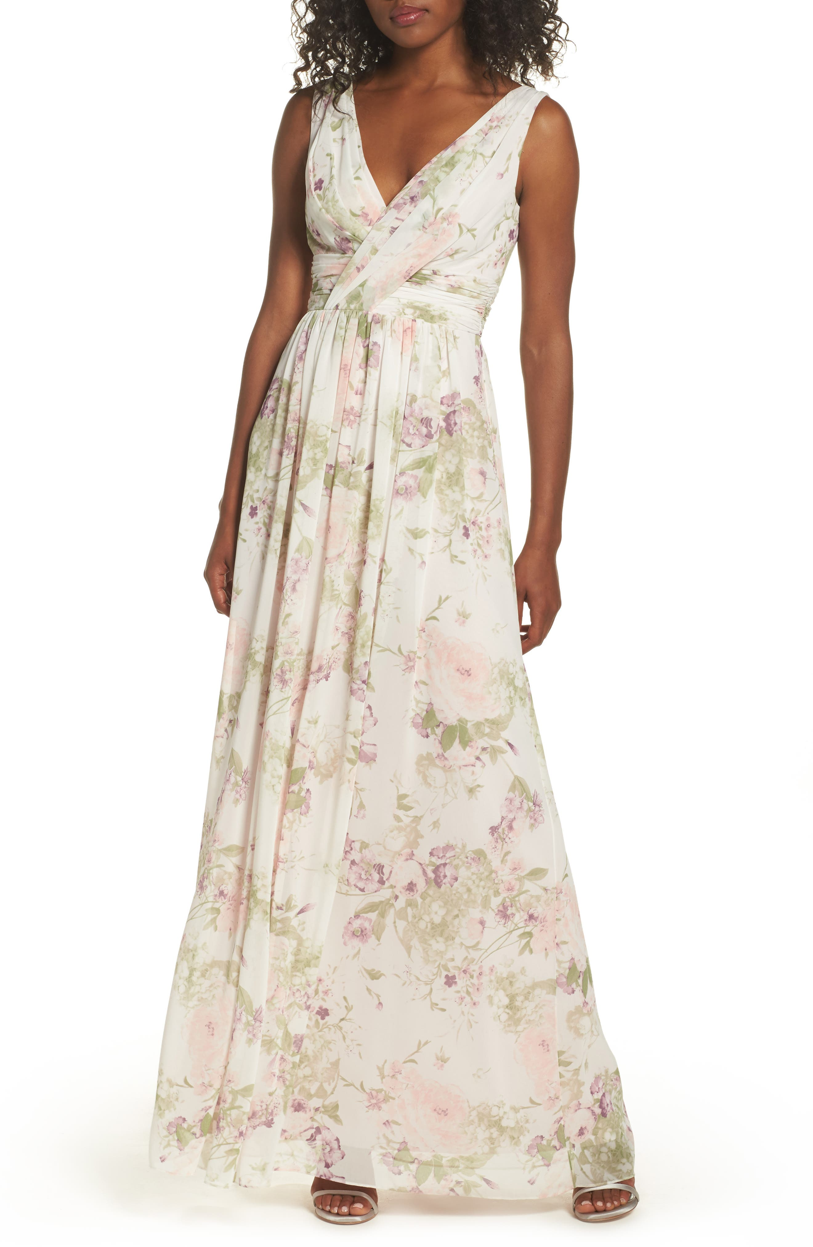 Dessy Collection Surplice Ruched Chiffon Gown, Ivory