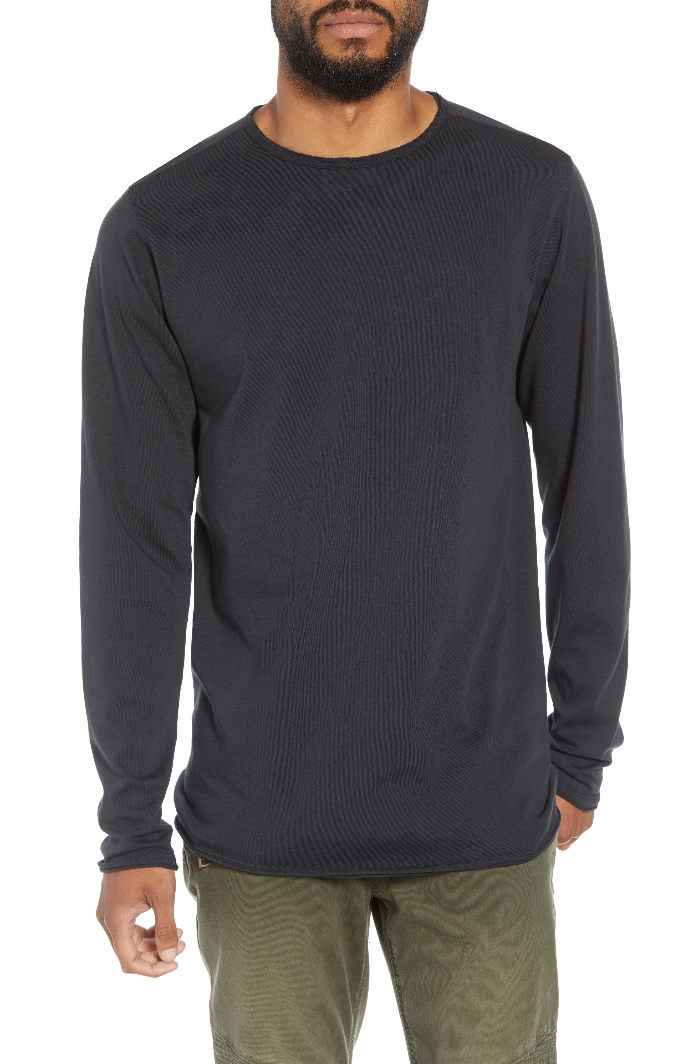 Hudson Elongated Long Sleeve T-Shirt,                             Main thumbnail 1, color,                             BLACK